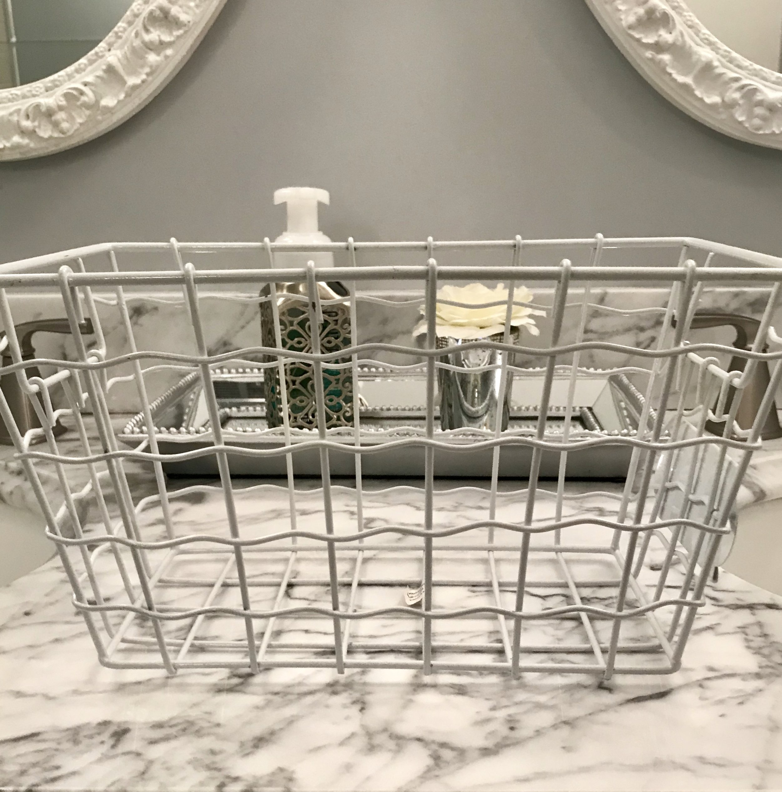 This is a basic wire storage basket that I  was planning on using for more palettes.   You can never go wrong with basic white!
