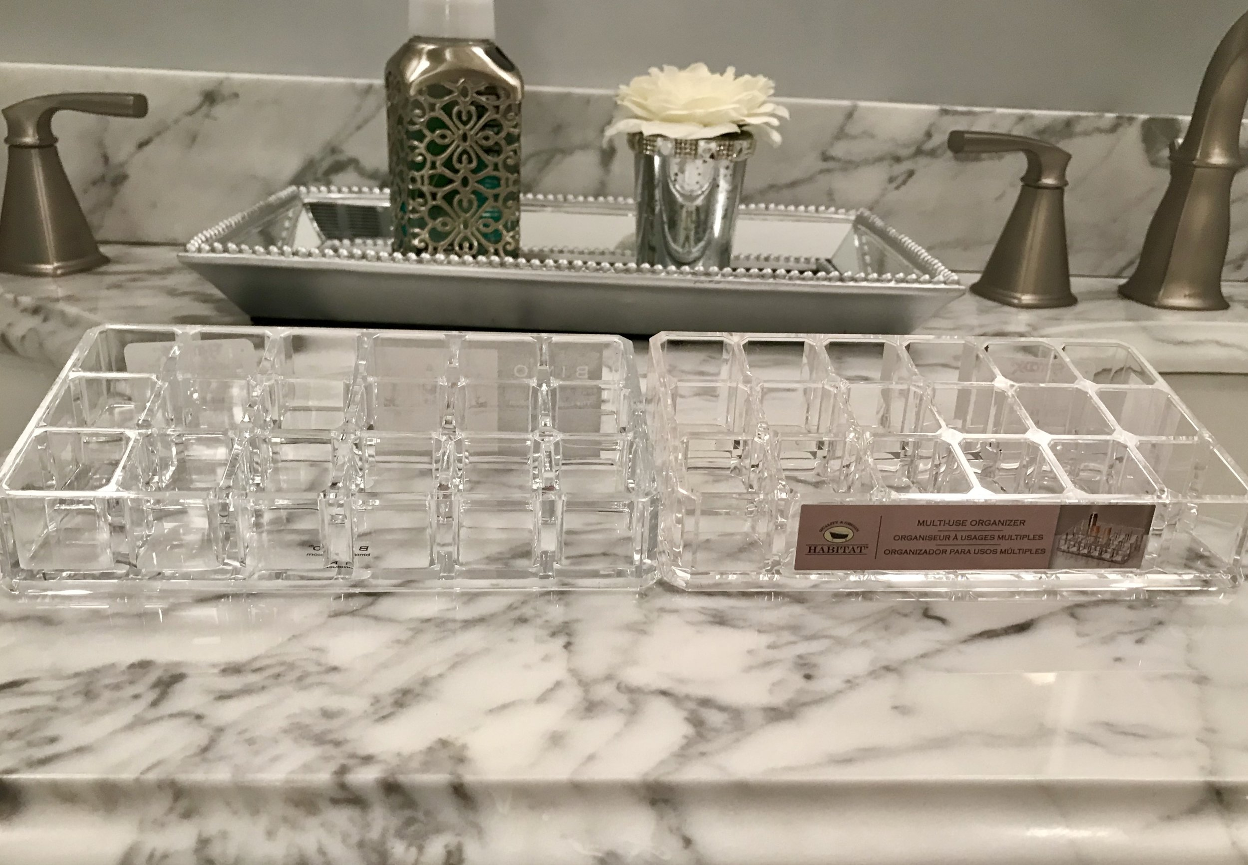 I  love the look of clear acrylic storage, especially for make-up storage.  I went to TJ Maxx with the expectation of buying some of these storage items, and I love that there were some available for lipsticks and lip glosses!