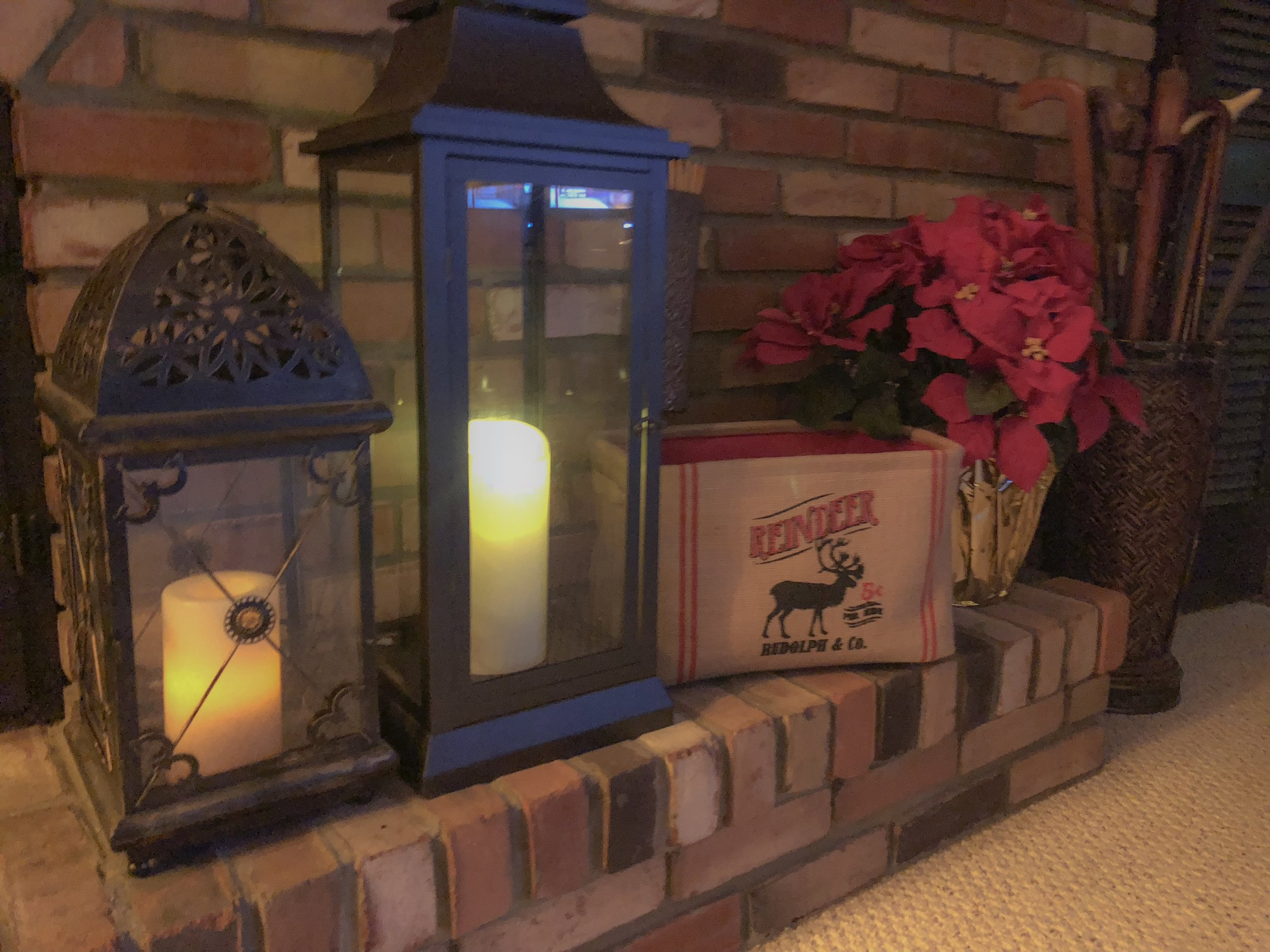 I love these fun burlap box I purchased from TJ Maxx last year. It's perfect on my fireplace, and I think the poinsettia adds the finishing touch.