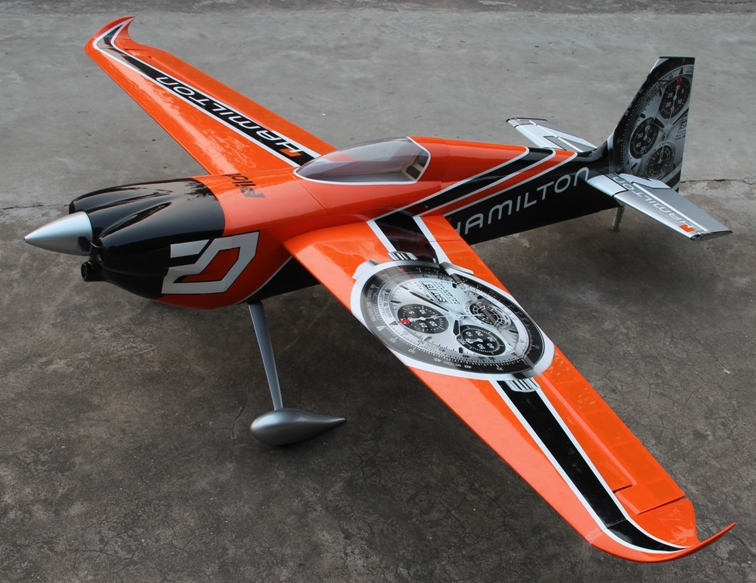 Pilot RC Edge 540 60cc - Wing Span: 92 Inches (31% scale)Wing Area: 1520 Sq InchesFuselage Length: 83 InchesWeight: under 20 LbEngine: 60 to 70cc Gas or equivalent electricServos: 6 $1000 value