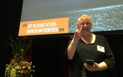 """On stage at the Danish archives conference, 2017.  Det er svært at spå navnlig om fremtiden  — """"Sometimes it's difficult to predict the future"""""""