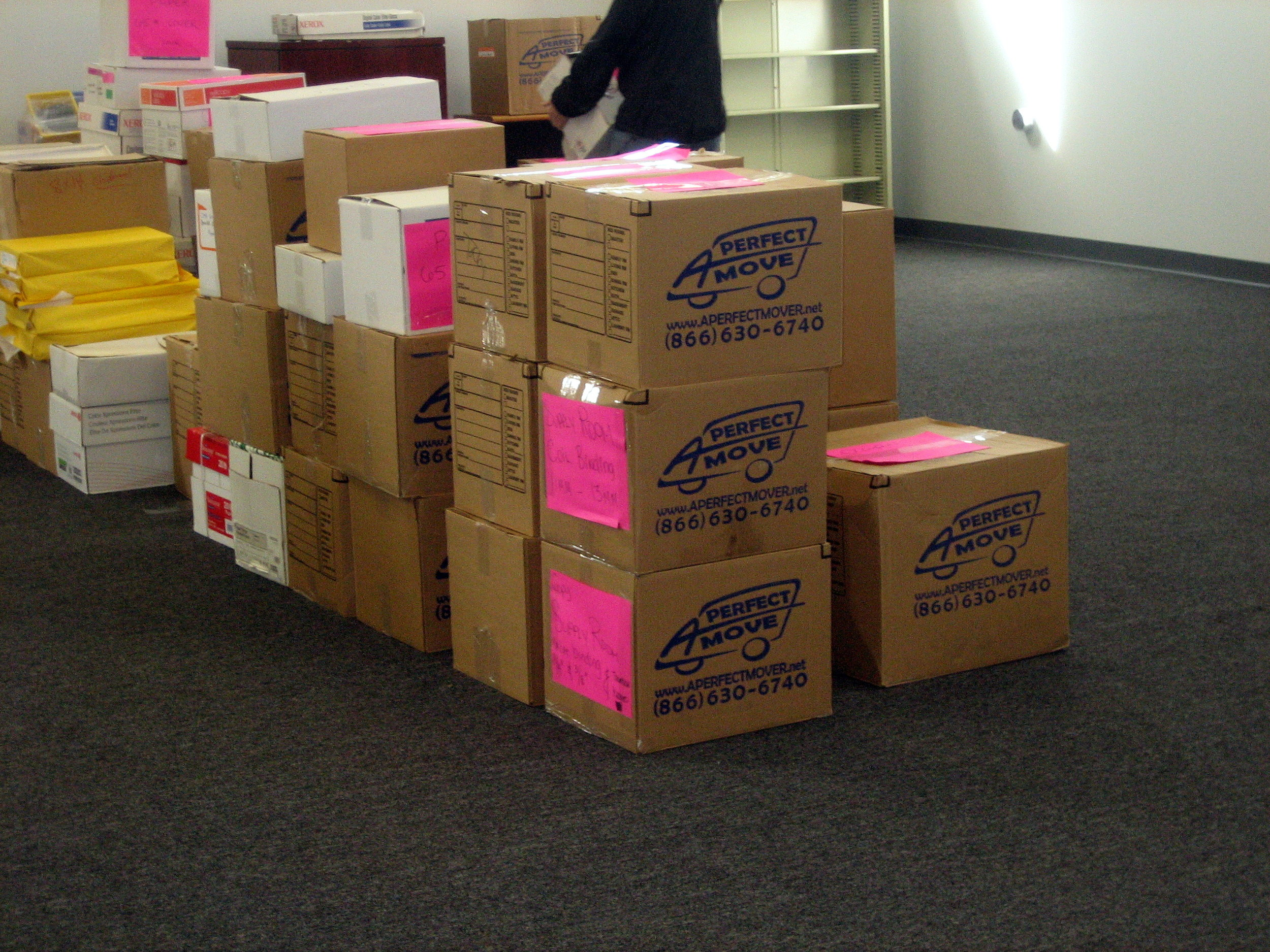Packed, organized, boxes labeled for move.
