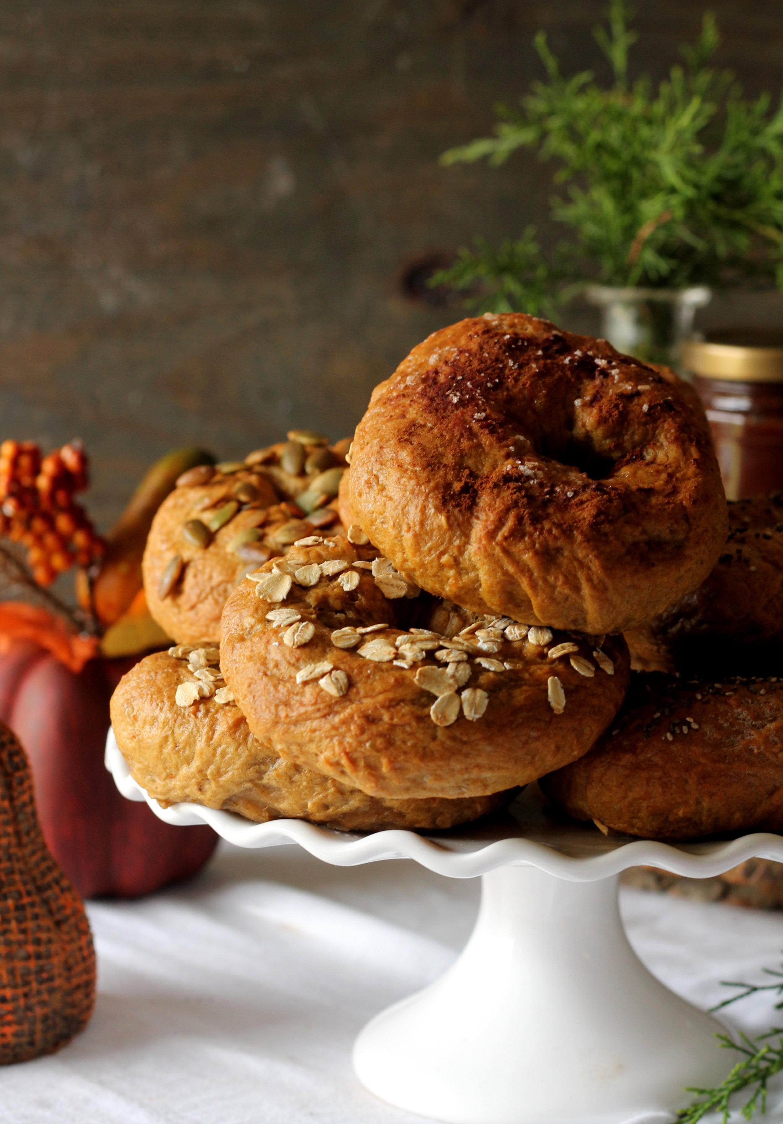 pumpkin spiced pumpkin bagels