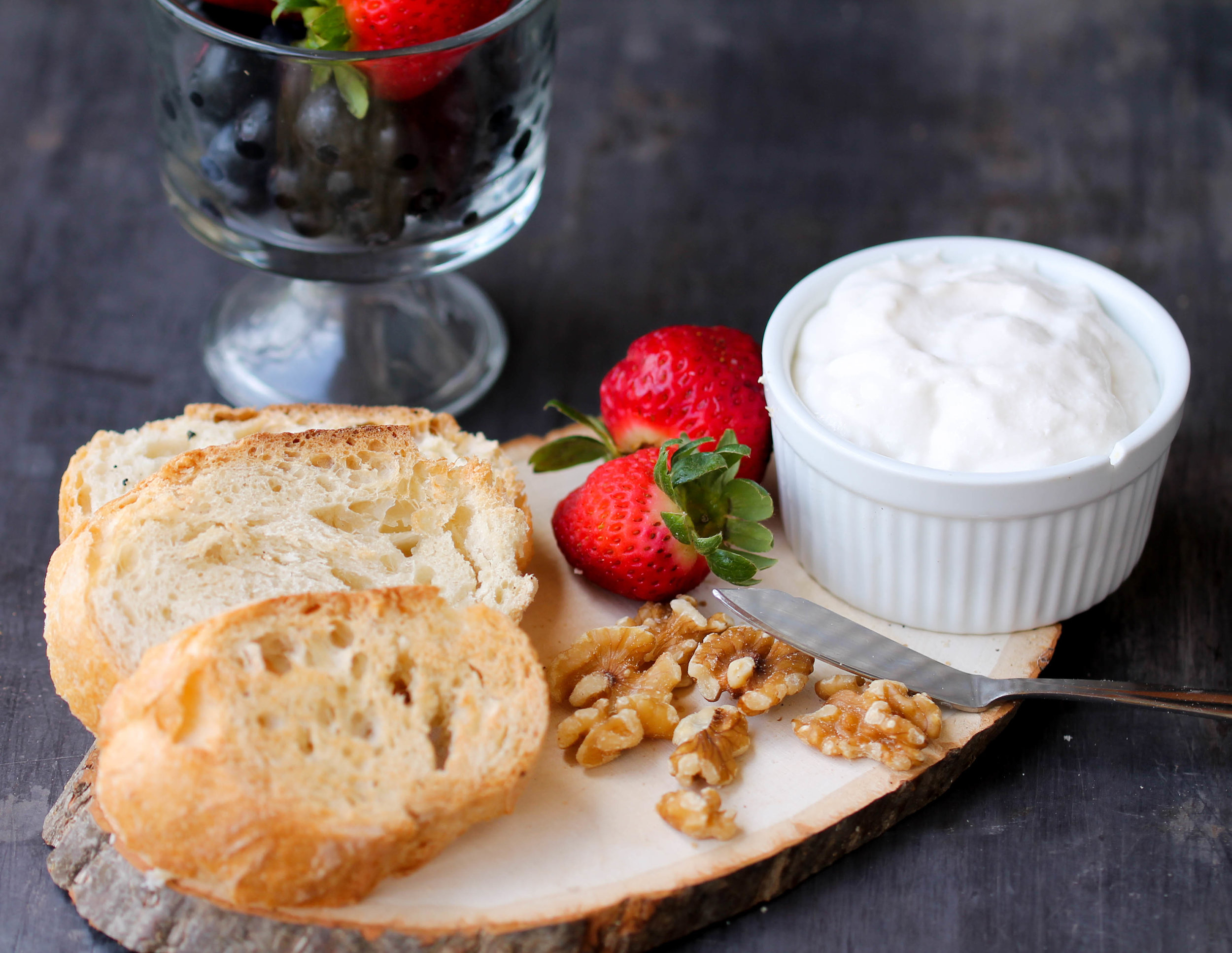Whipped Cottage Cheese with Berries Crostini is an easy, quick appetizer or dessert that takes 5 minutes or less to make.