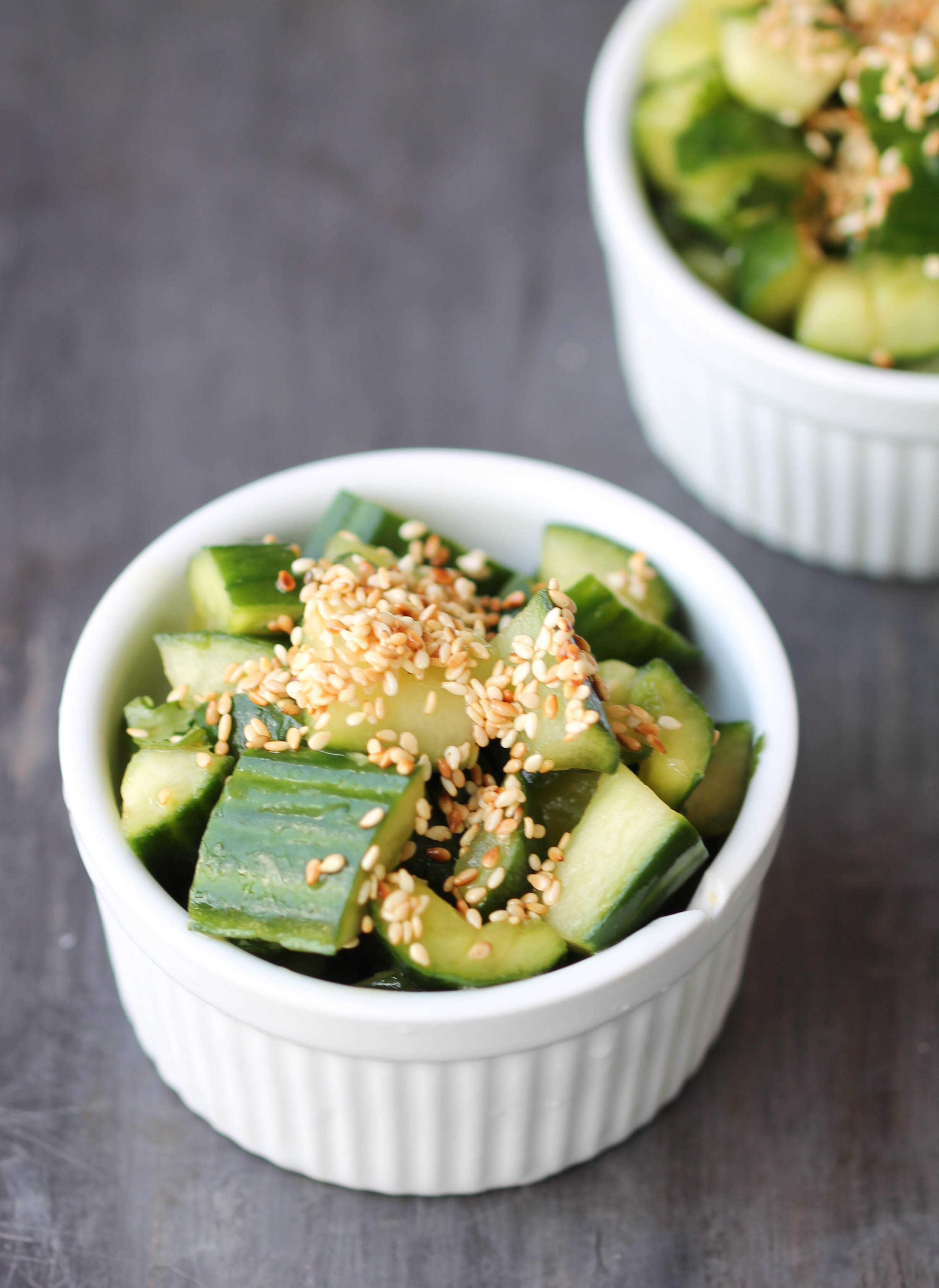 Smashed Cucumber Salad is an easy, refreshing, and flavorful salad influenced by Chinese flavors. It comes together in 5 minutes or less, feeds the crowd, also is naturally vegan, gluten-free friendly!