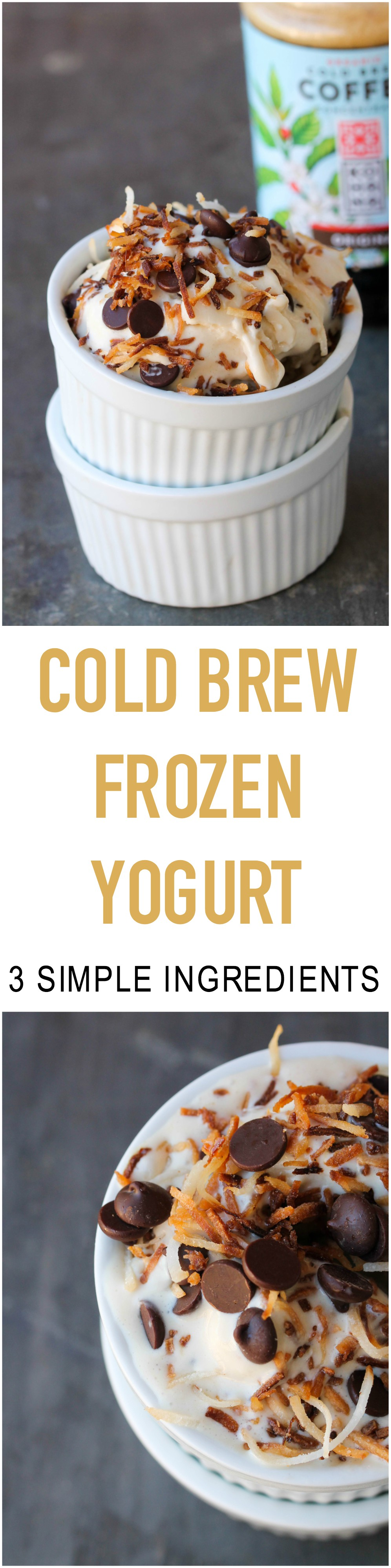 Cold Brew Froyo made with 3 simple ingredients: yogurt, cold brew coffee, and naturally sweetened with honey.