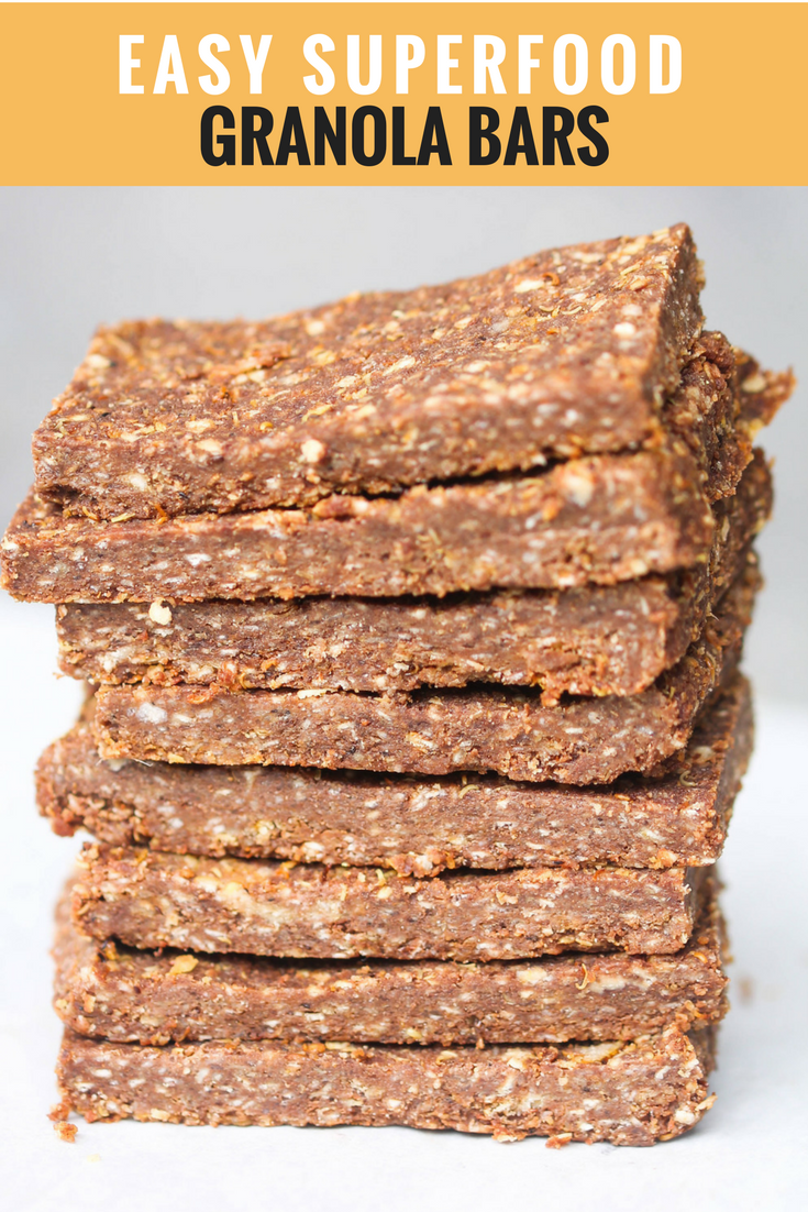 Easy Superfood Granola Bars are 5 ingredients, gluten-free, & vegan-friendly.