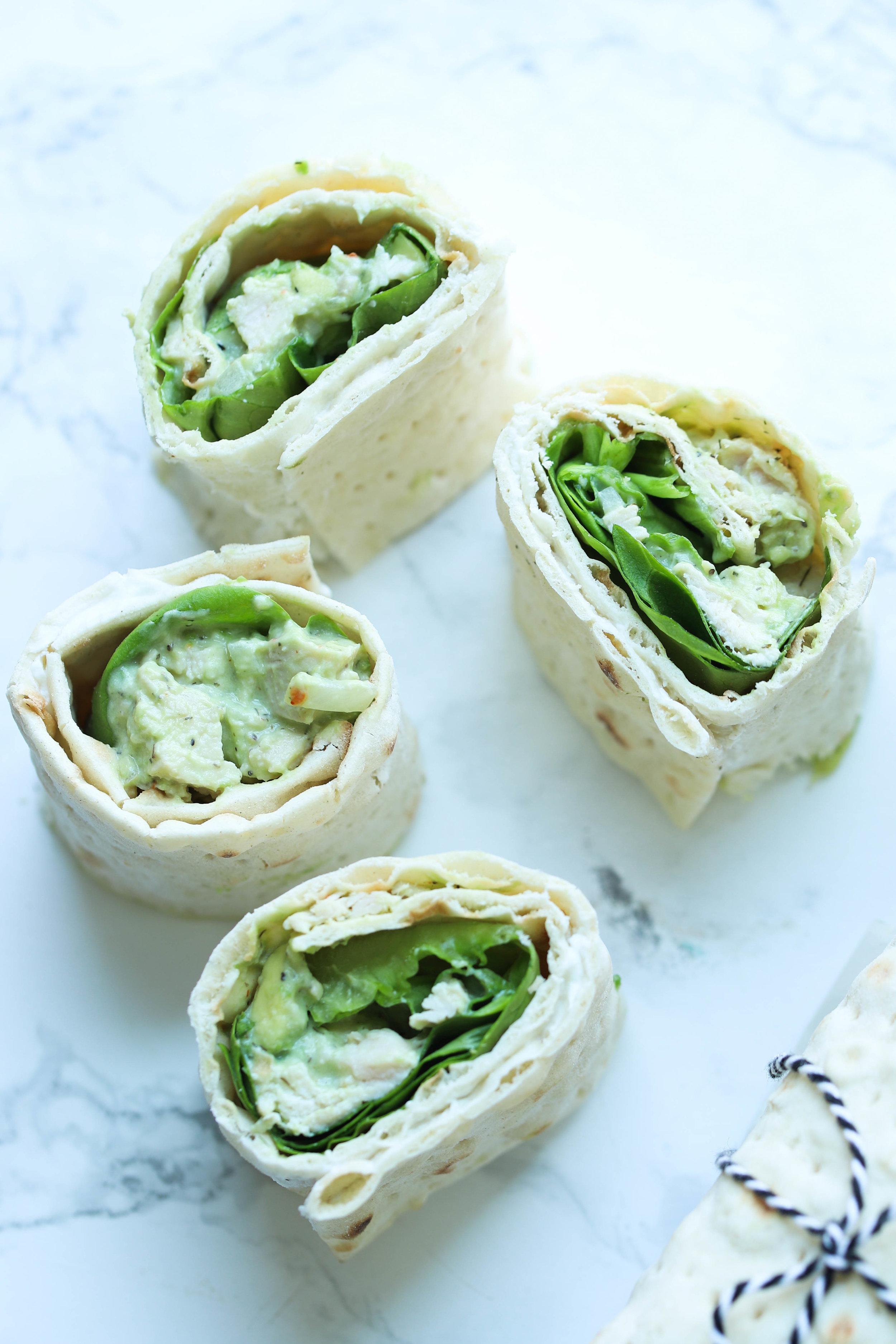 High Protein Chicken Avocado Salad Wrap