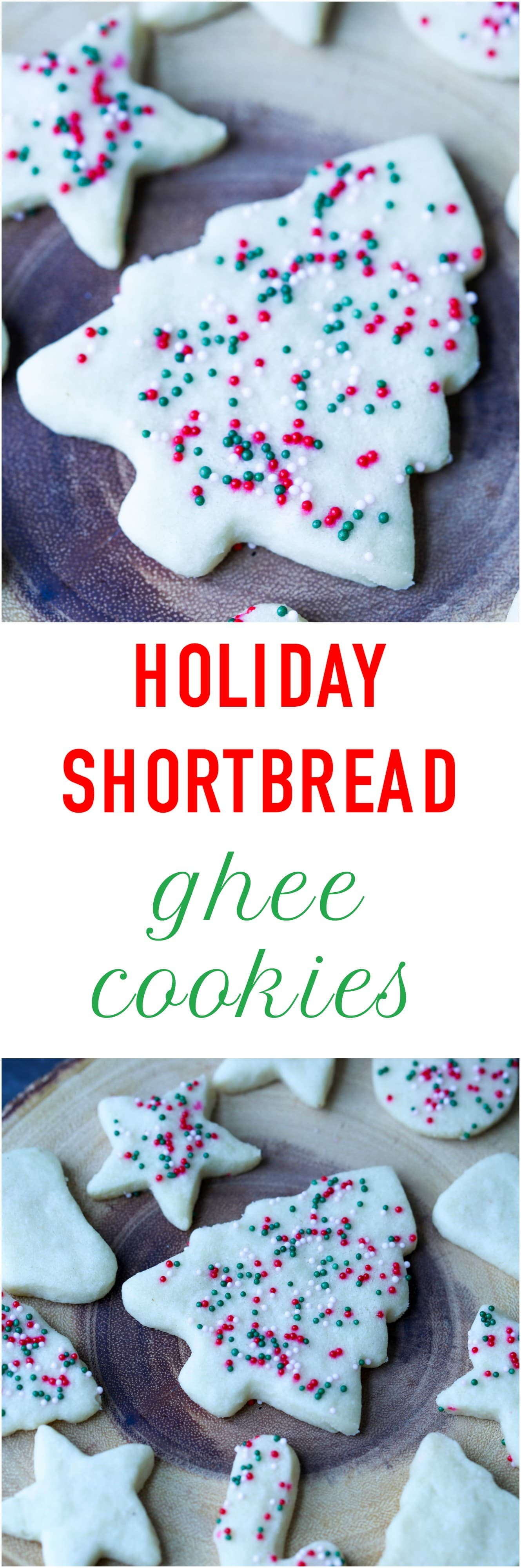 Melt-in your mouth Holiday Shortbread Ghee Cookies made with just few key ingredients!