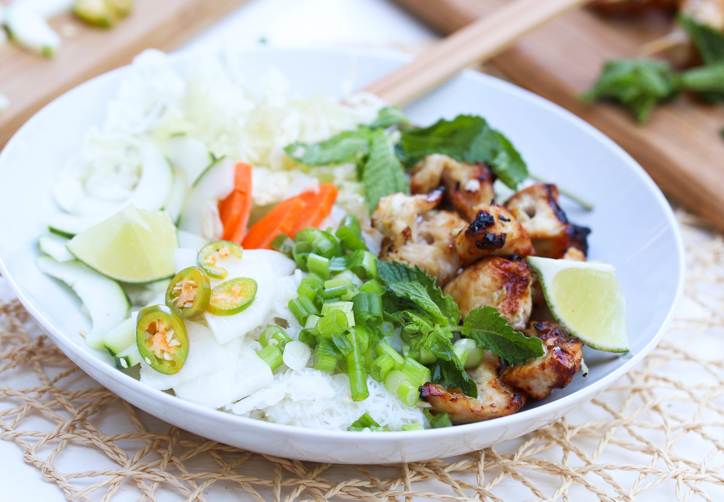 Vietnamese Caramelized Chicken Noodle Bowl