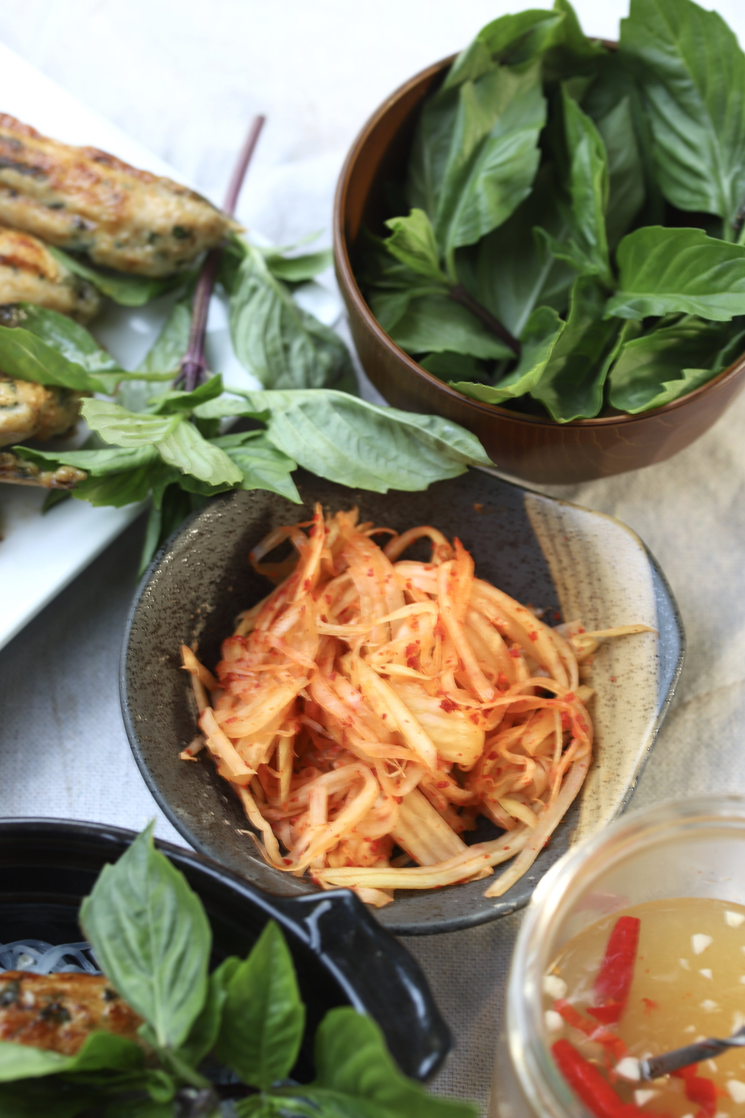 Cold Noodle Salad with Basil Chicken