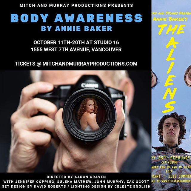 If you liked our production of The Aliens from a few years back, you need to see Body Awareness! It's by the same writer, the brilliant Annie Baker!  Check out this production by @mitch_and_murray_productions playing October 10th- 20th at Studio 16. Get your tickets @ www.mitchandmurrayproductions.com #yvrtheatre #anniebaker #mitchandmurrayproductions #studio16