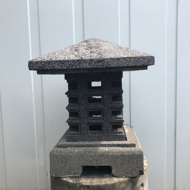 Japanese garden lamp made of volcanic rock
