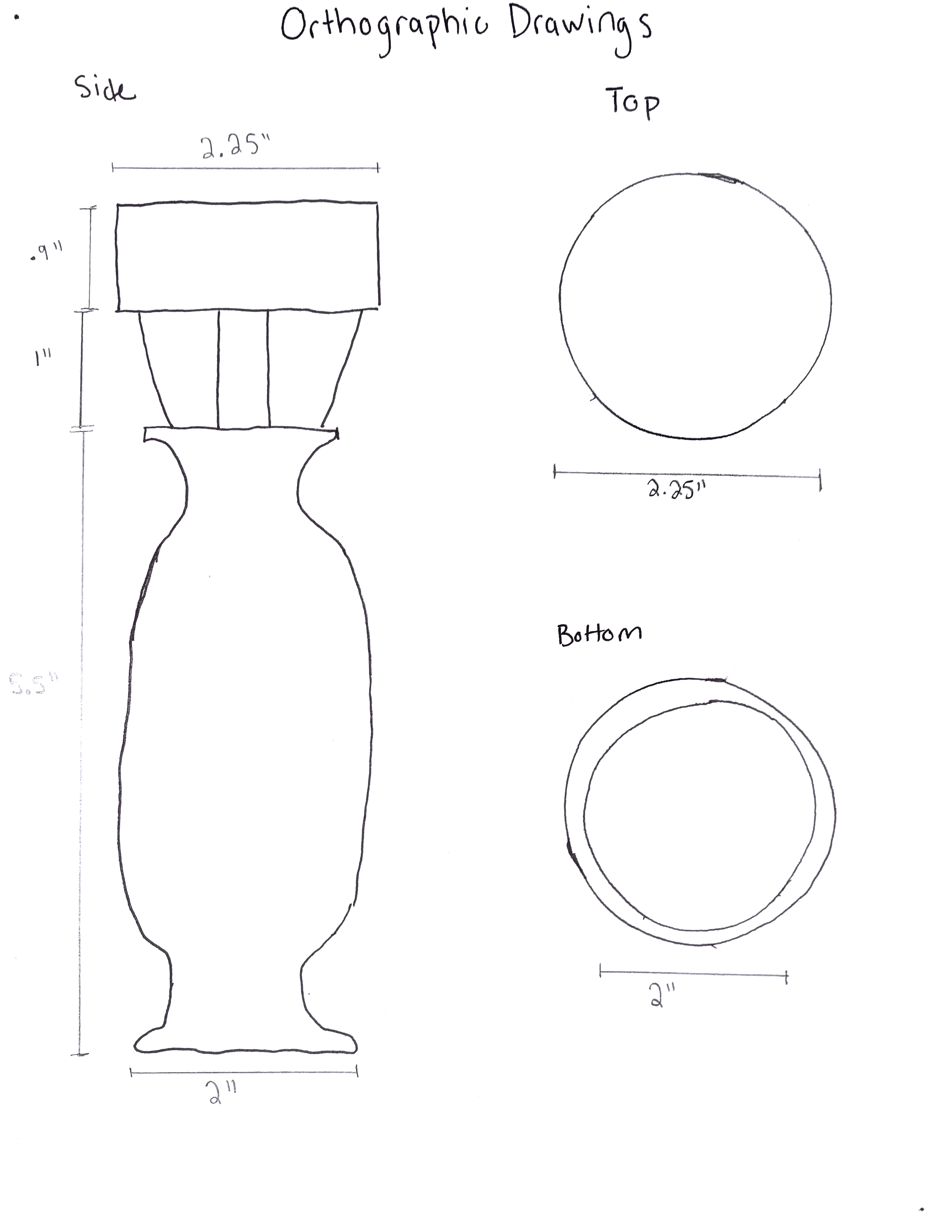 Orthographic drawing with to scale dimensions.