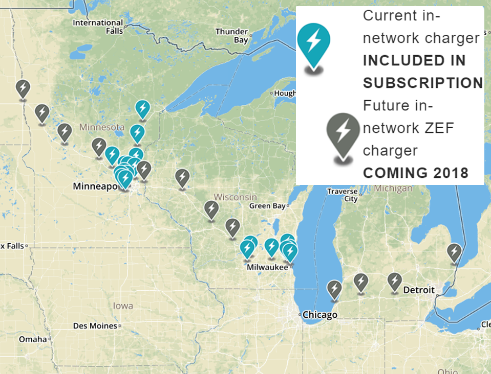 ZEF Energy Existing and Planned DC Fast Charging Network Locations