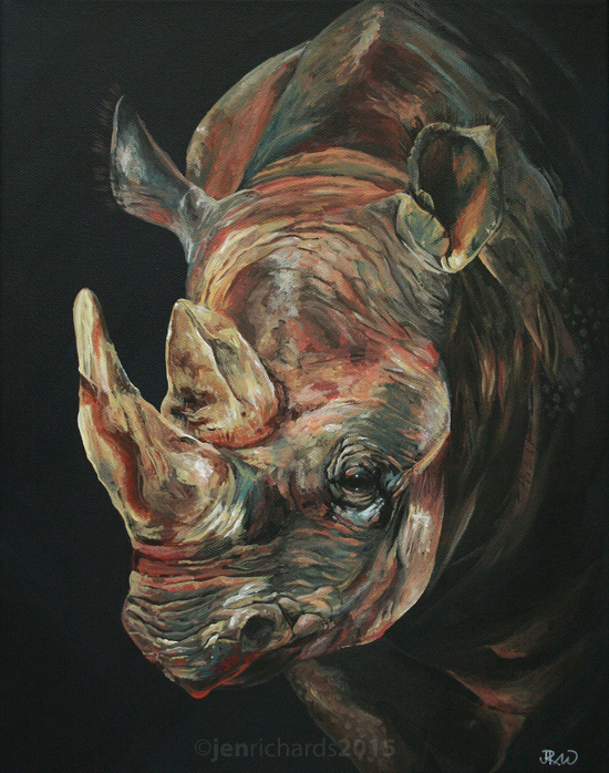 """Into the Light"" - Black rhino, 2015 Acrylic on canvas 11 x 14 inches DONATED to the Los Angeles Zoo's Bowling for Rhinos fundraiser"