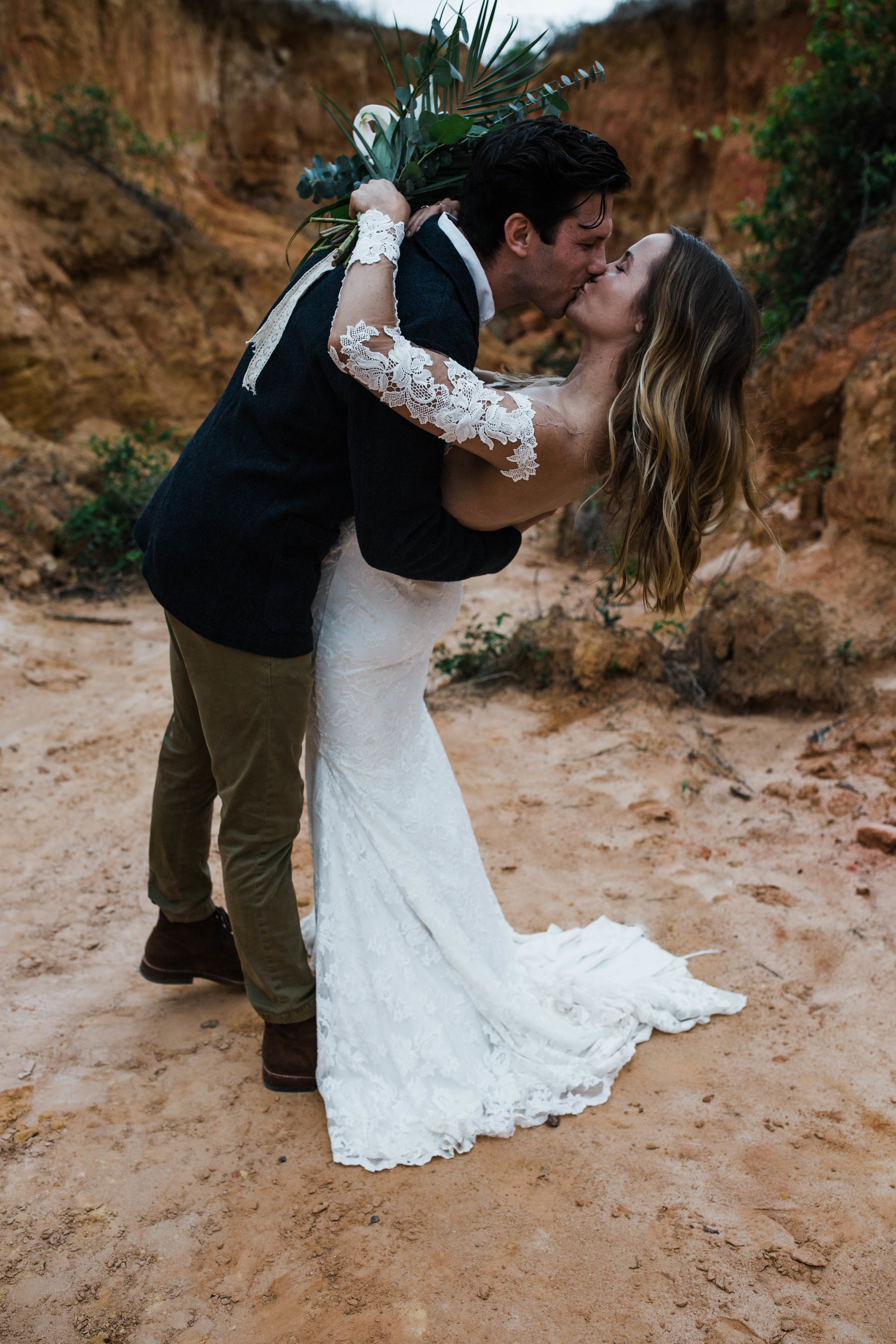 Slot canyon adventure elopement