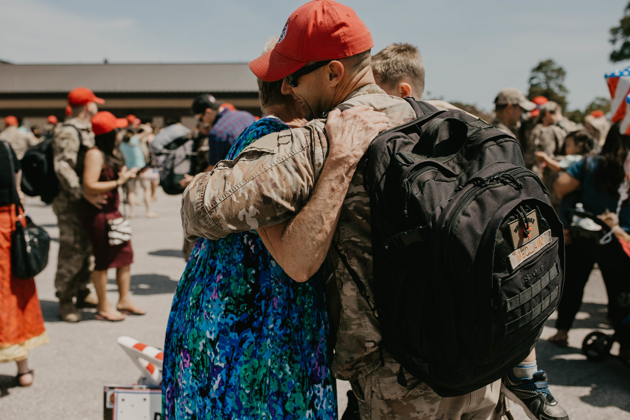 Family reunited after a 7 month deployment// Military homecoming photography