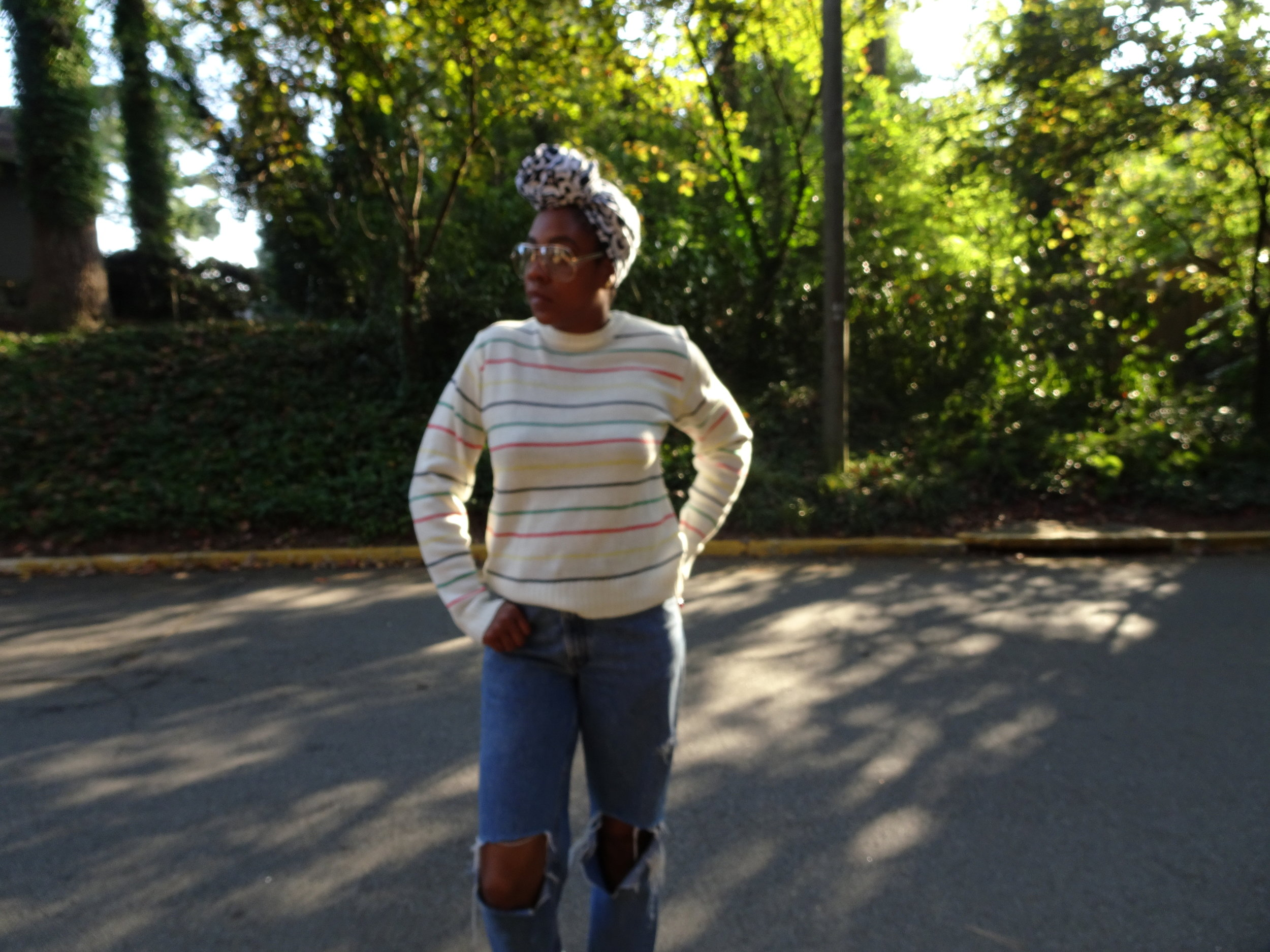 Sweater: Thrift; Jeans: Vintage Levi's; Head Scarf: The Wrap Life; Glasses: Natural Girls Rock