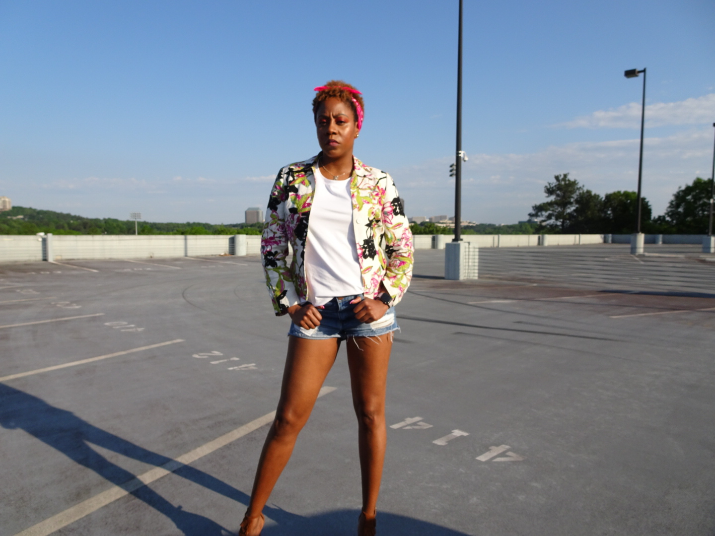 Jacket: Thrift; Shirt: Universal Standard; Shorts: Boohoo; Shoes: BCBG Generation