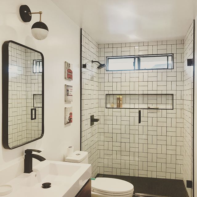 #blackandwhite feels today 🖤Here's a AFTER || BEFORE pic from a bathroom I recently remodeled for 2 of the coolest boys I know! They voted for the switch-a-roo of the traditional subway tile pattern. I know I'm not the first one to ever do this...just super happy to have such creative, talented and trusting clients (and their parents are pretty exceptional too!) that gave this new twist the thumbs up! @gabrieloksanen1 #theo @elvisfromencinitas @jussioksanen