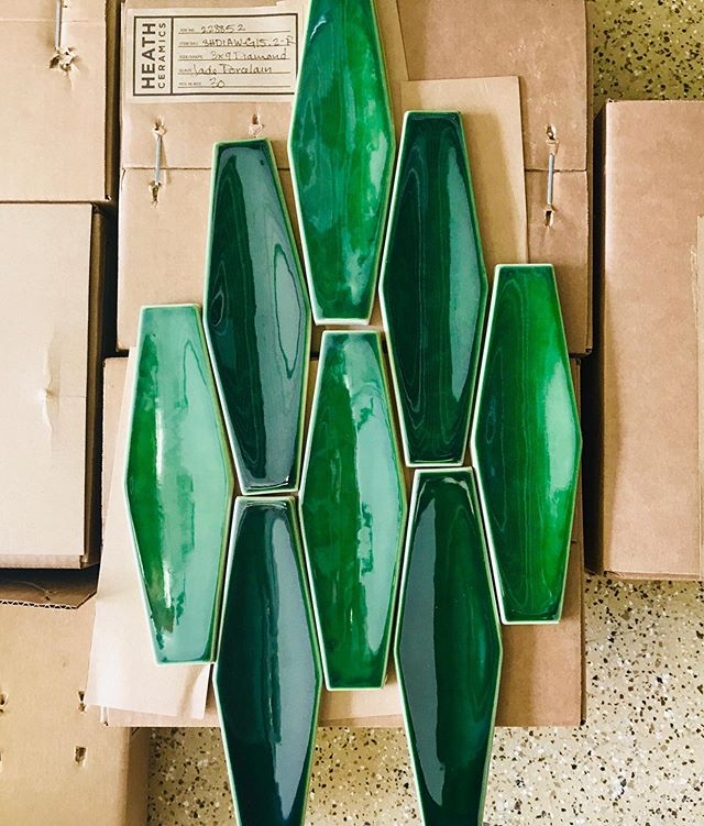 "My heart be still... @heathceramics just arrived for the last phase of one of my favorite clients remodel! So happy she said ""I want the Green"" ✨ It will be such a gorgeous (& persuasively fun😉) backdrop for the Bar Area equipped w/ a custom floating Walnut bar cabinet and shelves. Oooh I can't wait...we are so close! 🙌🏼"
