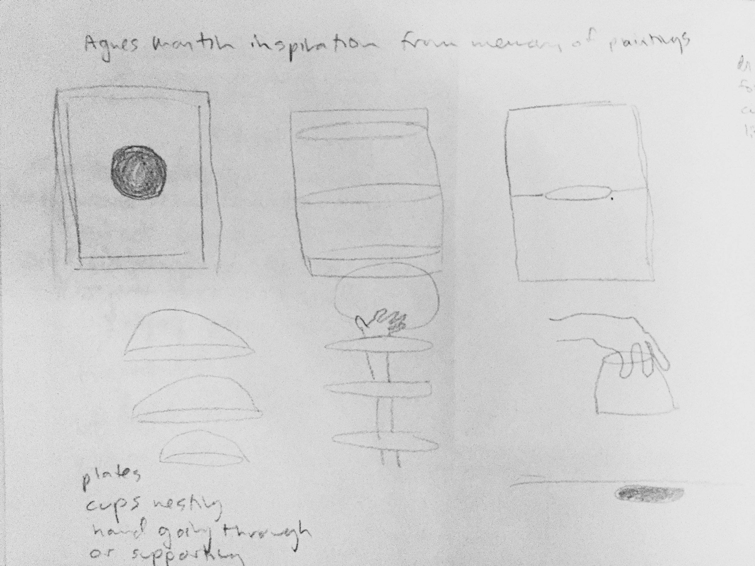 Example my sketch book drawings after seeing the Agnes Martin retrospective.