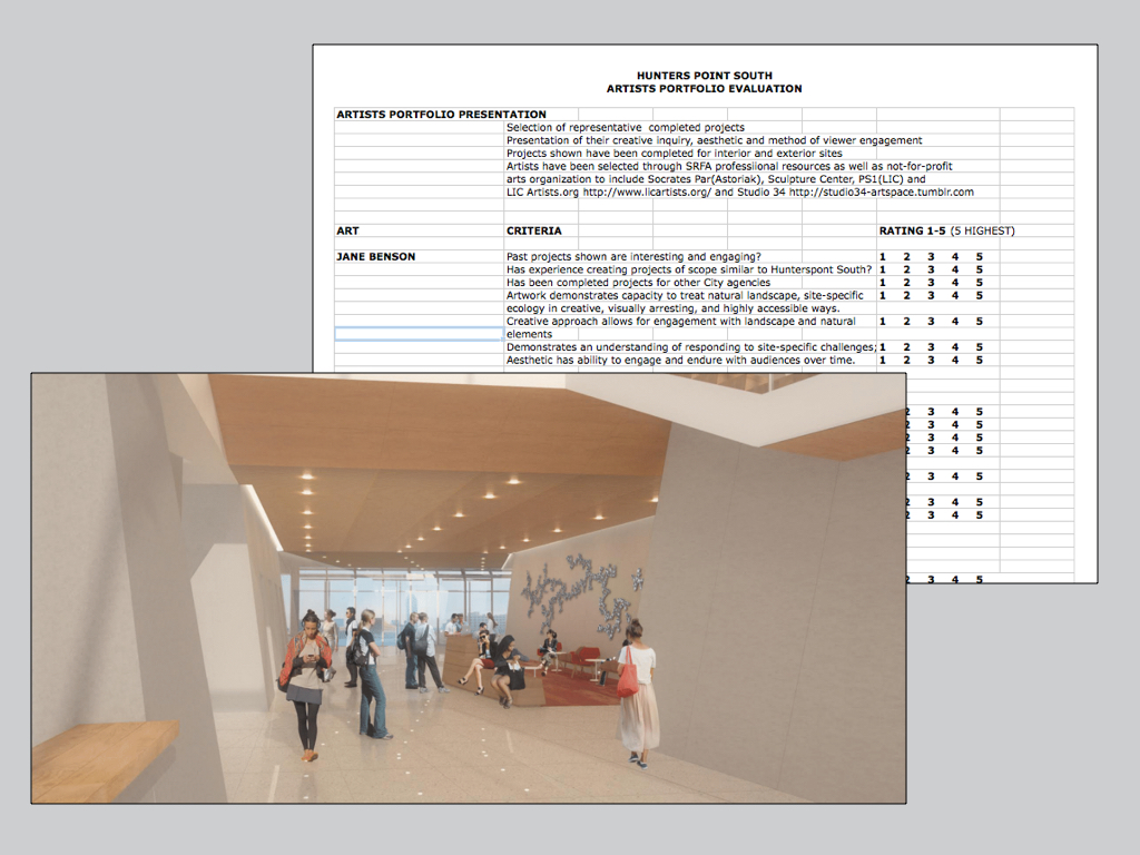 Proposal rendering and artist evaluation criteria sheet