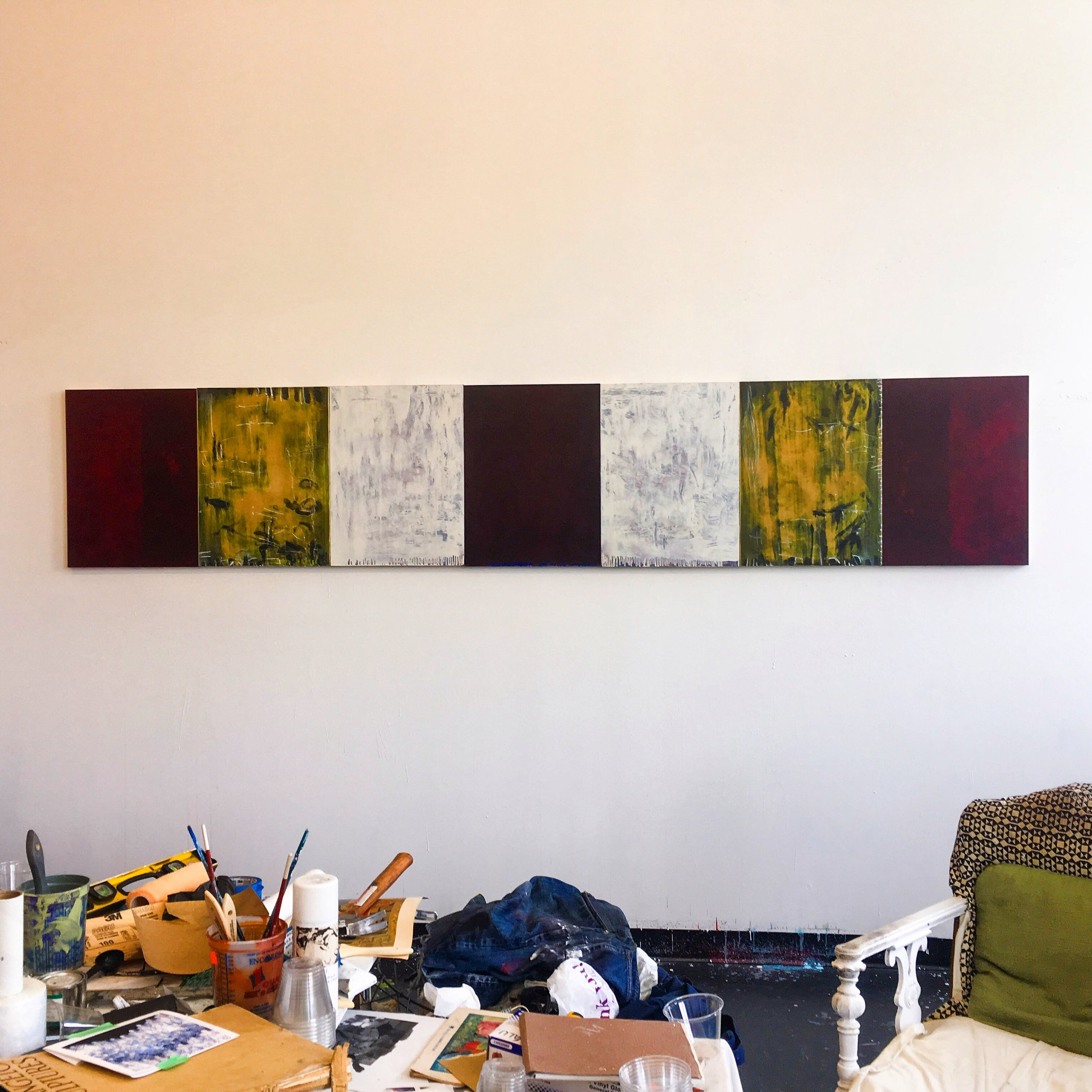 "Studio View:  Untitled , 2018, Oil, graphite, oil pastel on clay panels, 24"" x 90"""