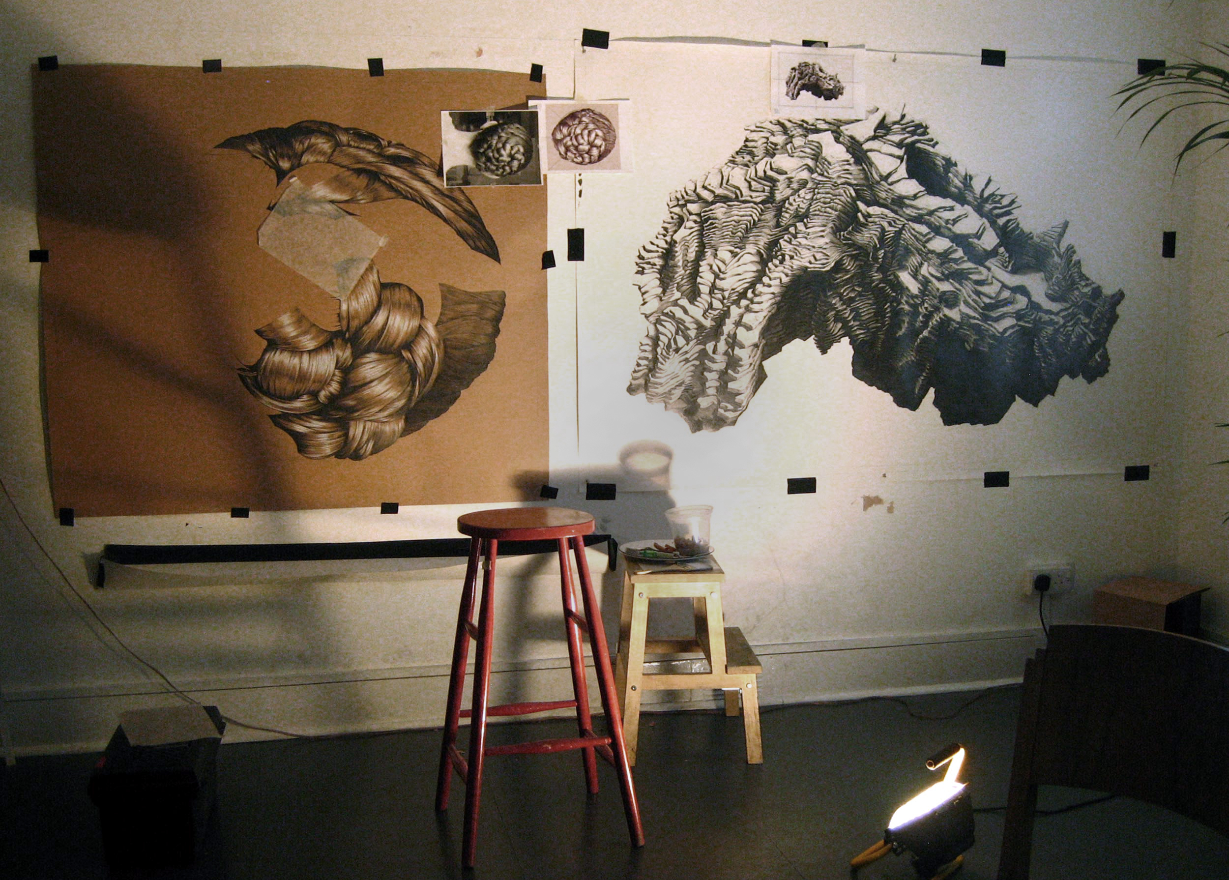 Reverse Self Portrait and Head in progress, 2010