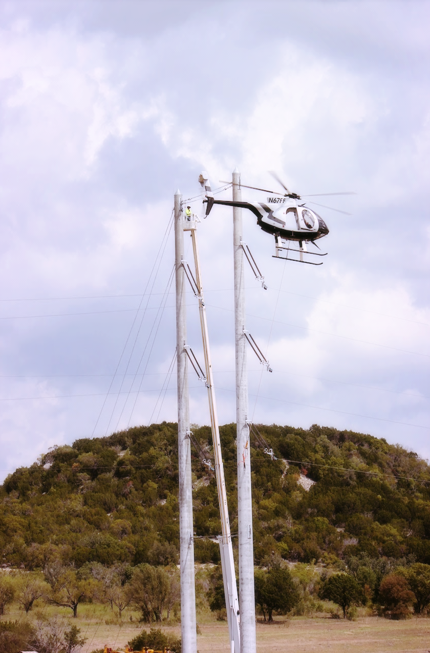 Helicopter work on the Lonestar 345kV Project