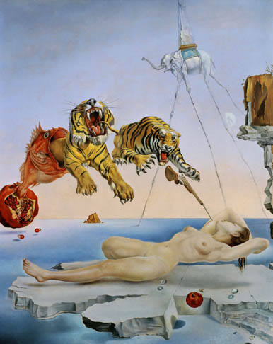 Salvador Dali,  A   Dream Caused by the Flight of   a Bee Around a Pomegranate a Second Before     Awakening, 1944.