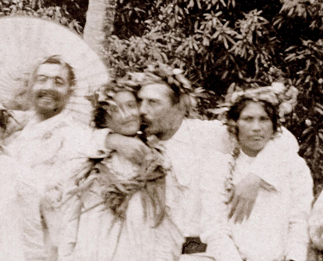 From the  Smithsonian Magazine . Paul Gauguin is in the middle. On the left is one of his models. On the right he's grabbing a woman's breast. One of the few pictures of him from Tahiti. I wonder why.