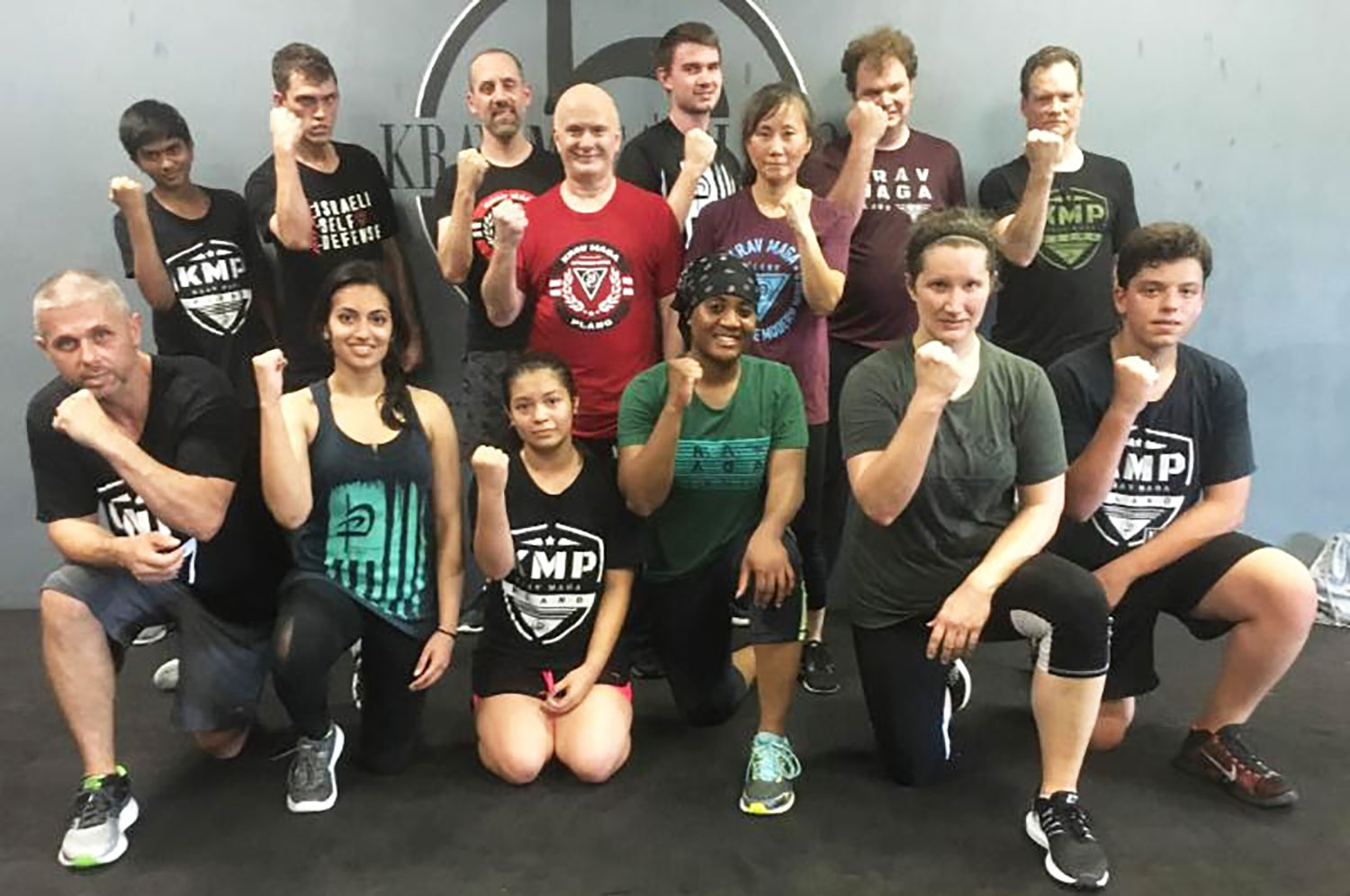 Priyanka's krav maga class after their level one test // courtesy the author