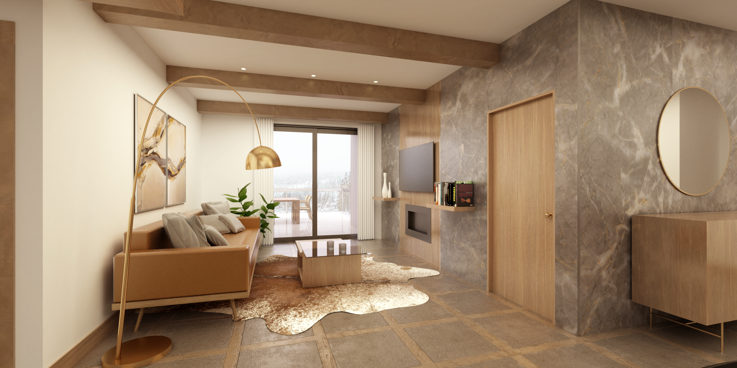 Interior design for residential condominiums at Lake Tahoe - Design & Rendering by BNDL