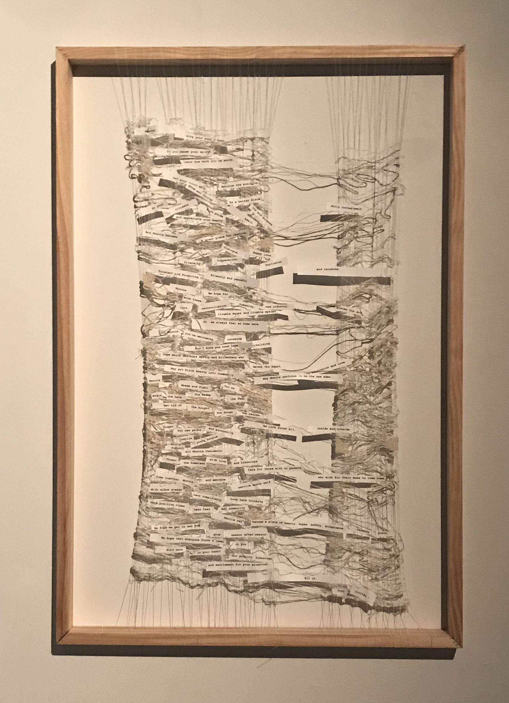 Woven Hopes, A Song to Muncie  Wood, Silk, Stainless Steel, Hemp, Paper, Ink  2018