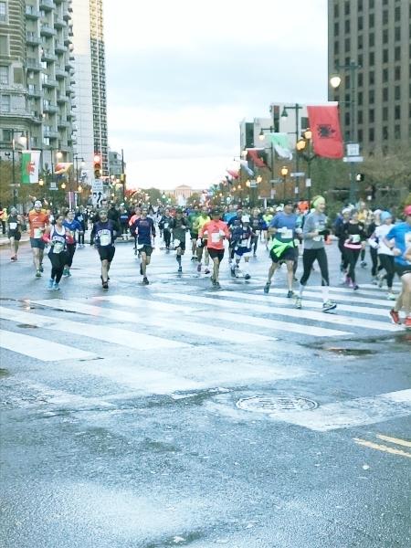 At the Philadelphia marathon - spectating only for marathons :)