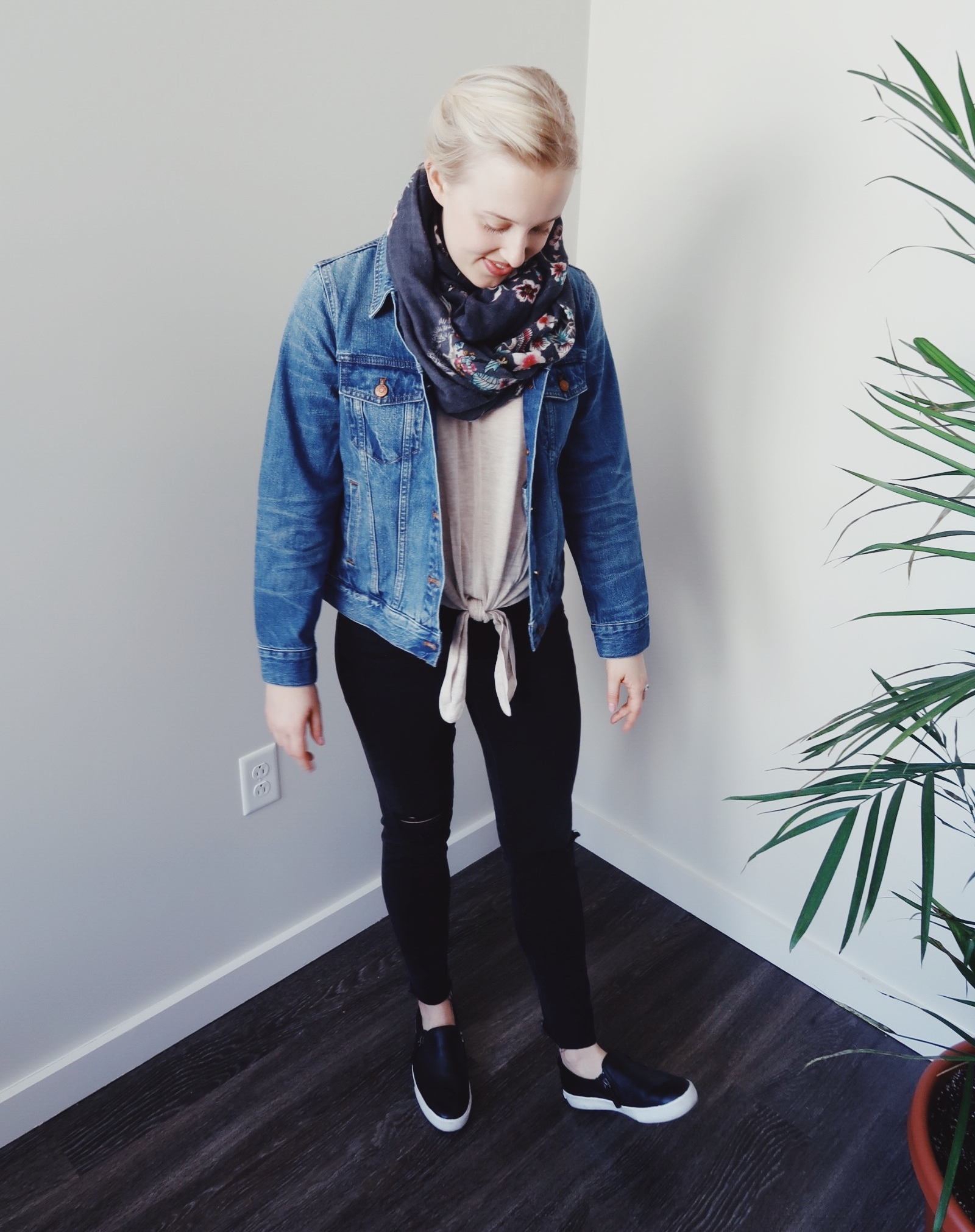 Jacket:   Madewell ;  Tie-front sweater:   Madewell ;  Jeans:   Madewell;   Scarf:  H&M (old);  Slides:  Banana Republic (old)