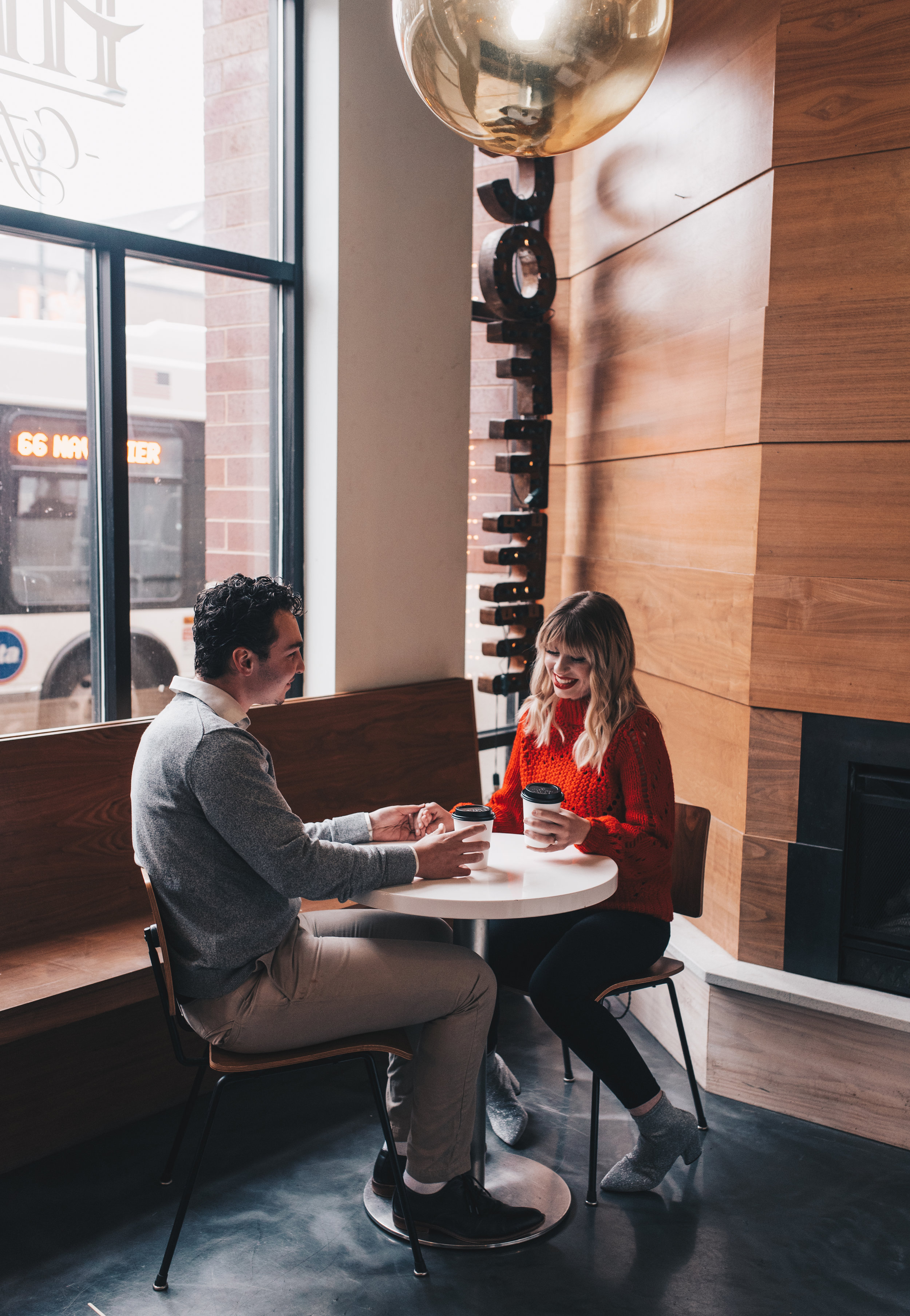 Chicago Coffee Shop Engagement Shoot, Chicago Couples Photography, Chicago Engagement Photography, Coffee Shop Couples Photography