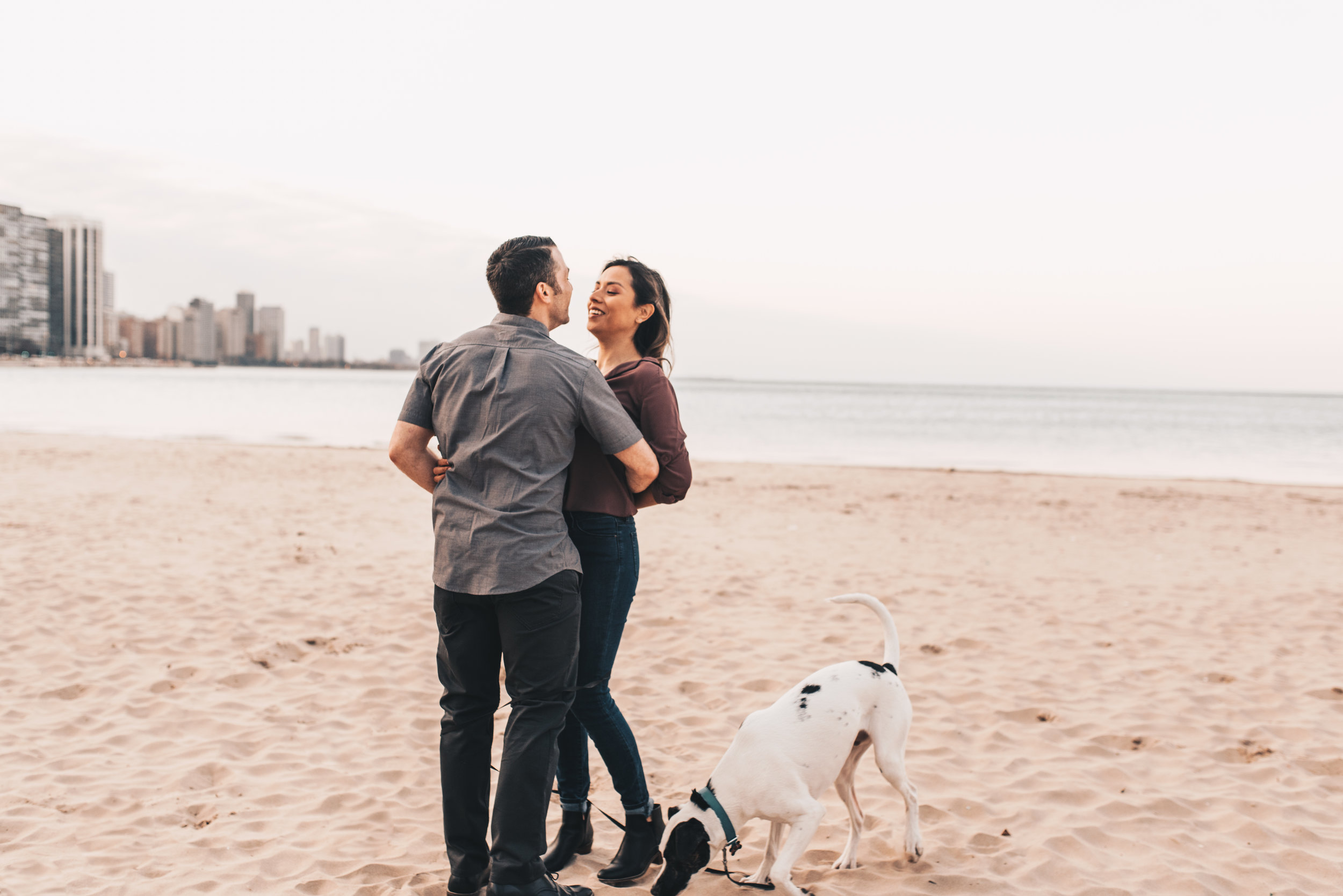 Outdoor Engagement, City Engagement, Engagement Photos, Chicago Engagement Photographer, Chicago Engagement Photography, Milton Lee Olive Park Photos, Engagement Photos with Dog
