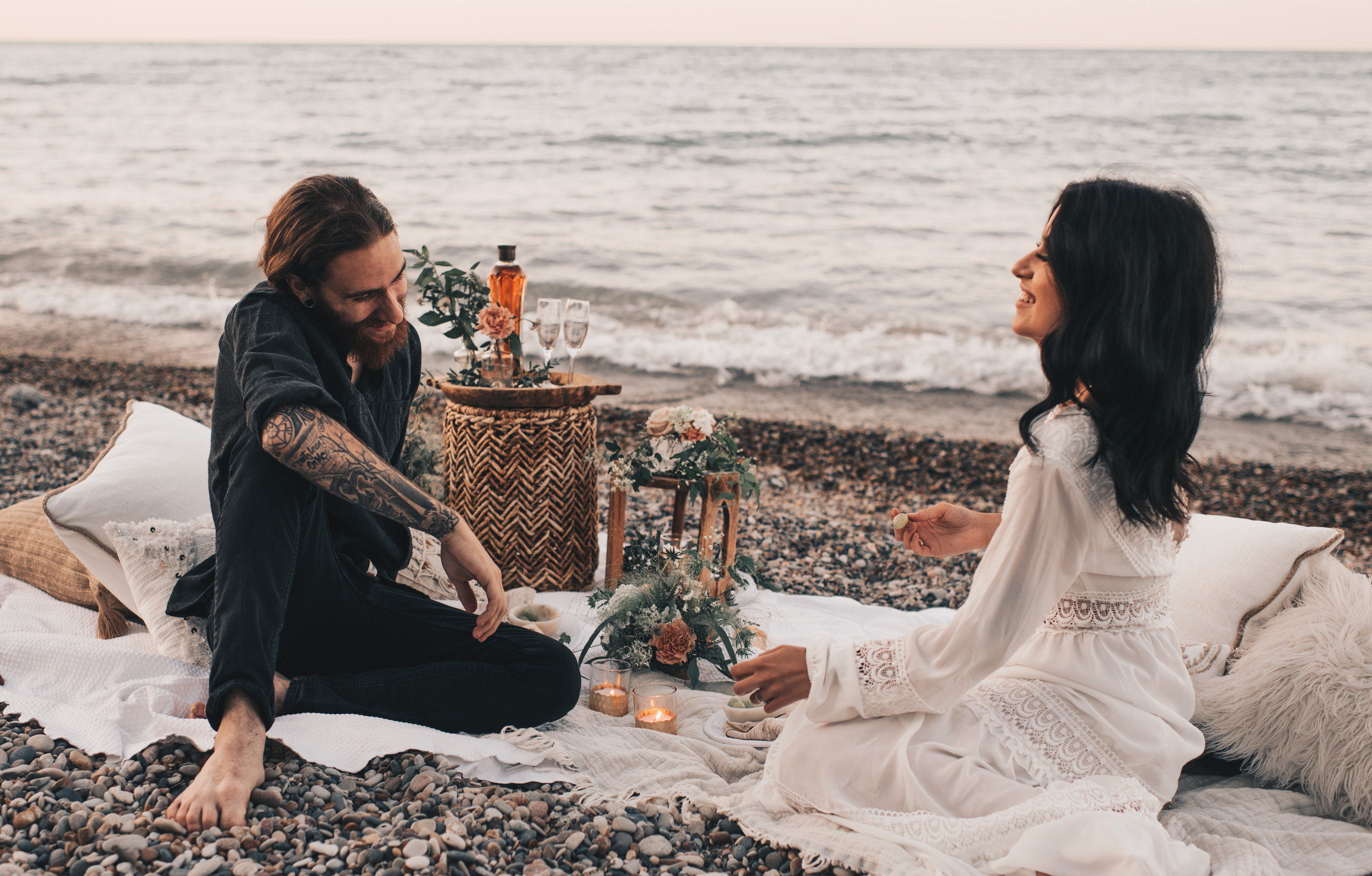Lake Michigan Beach Session, Lake Michigan Beach Elopement, Summer Beach Elopement, Dreamy Beach Elopement, Illinois Beach Elopement, Indiana Dunes Elopement, Beach Picnic Elopement