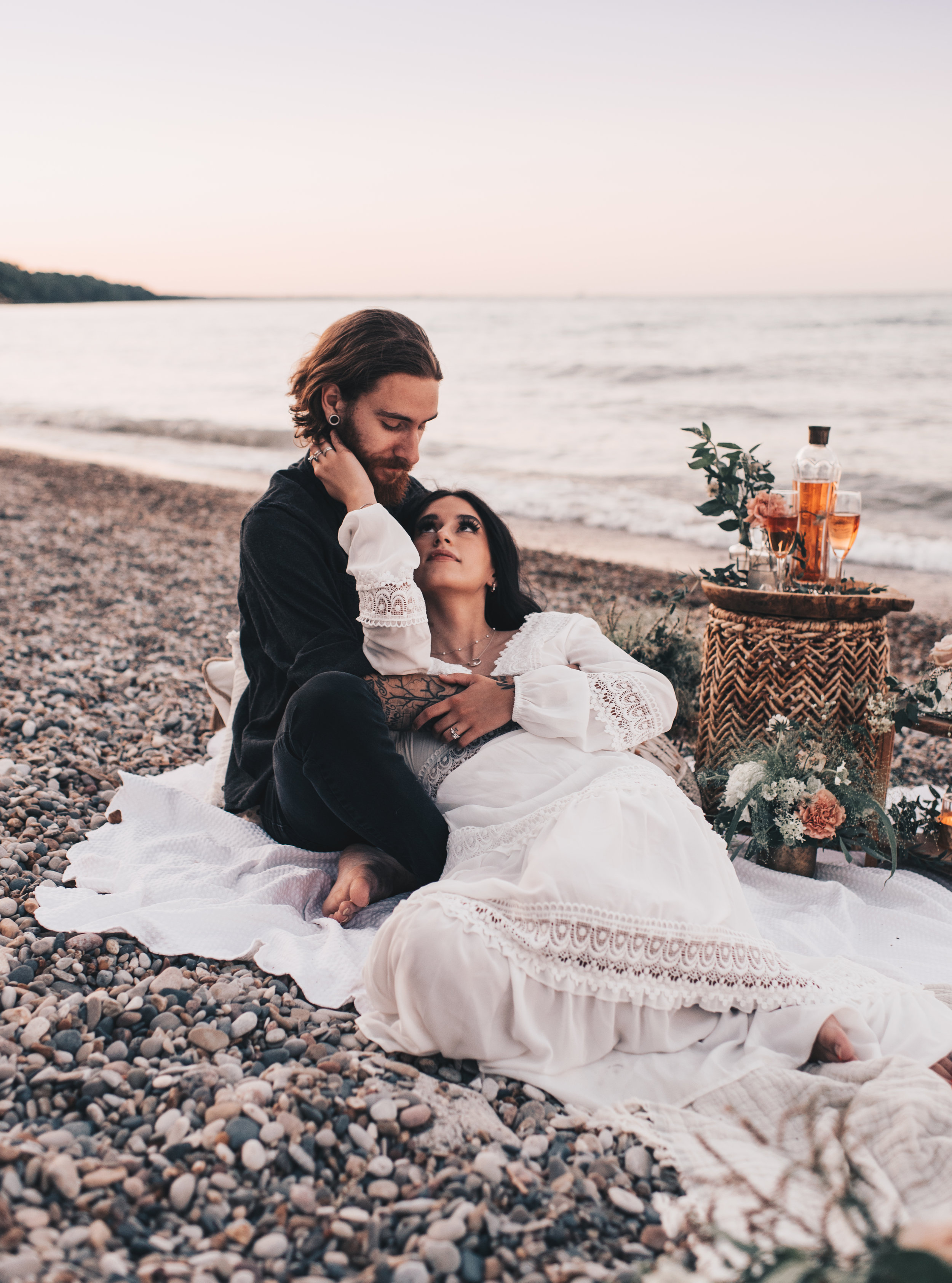 Lake Michigan Beach Session, Lake Michigan Beach Elopement, Summer Beach Elopement, Dreamy Beach Elopement, Coastal Beach Elopement, Romantic Boho Beach Picnic Elopement