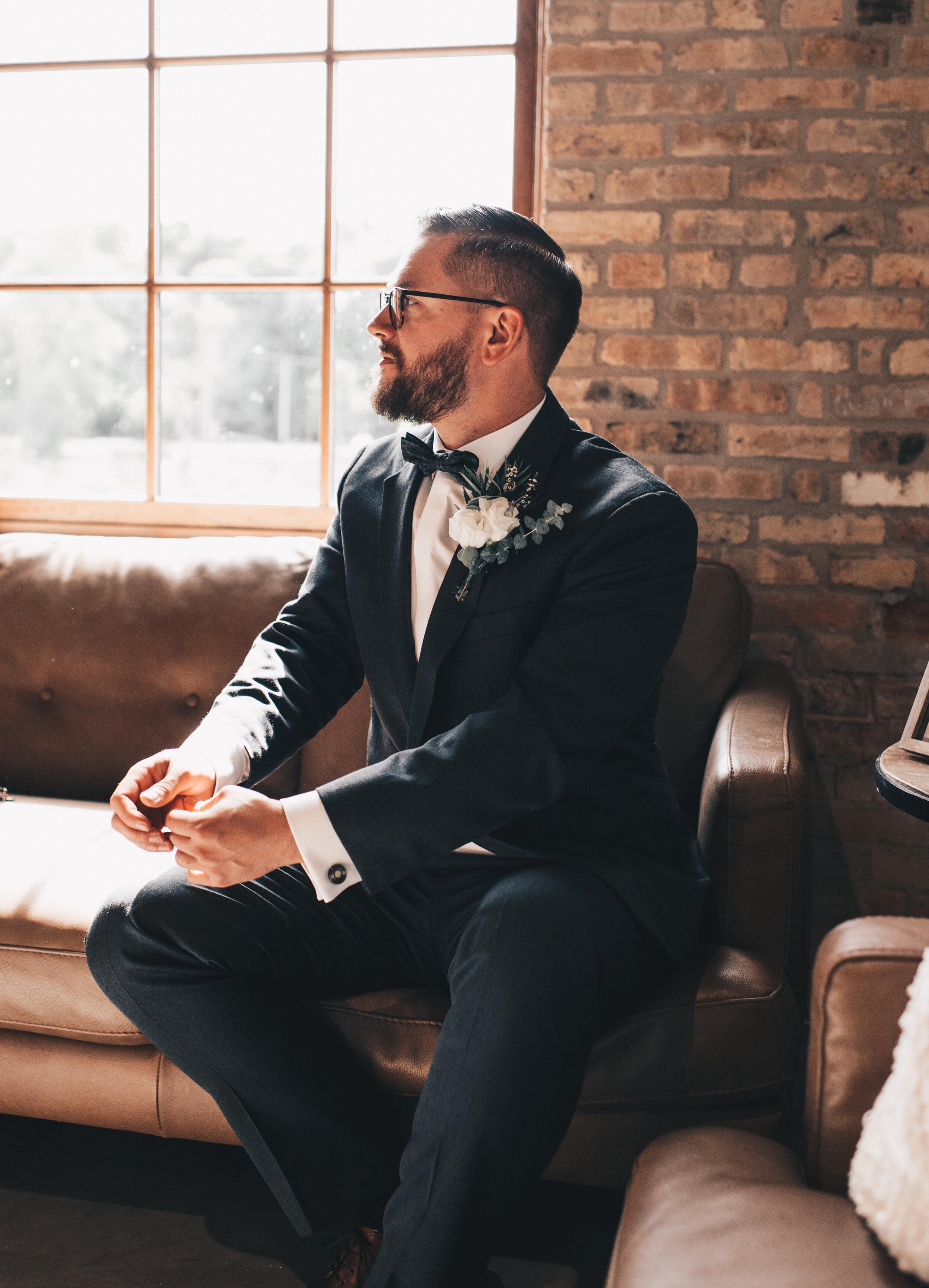 Modern Industrial Wedding, The Brix on the Fox, The BRIX, Groom Attire, Modern Midwest Wedding