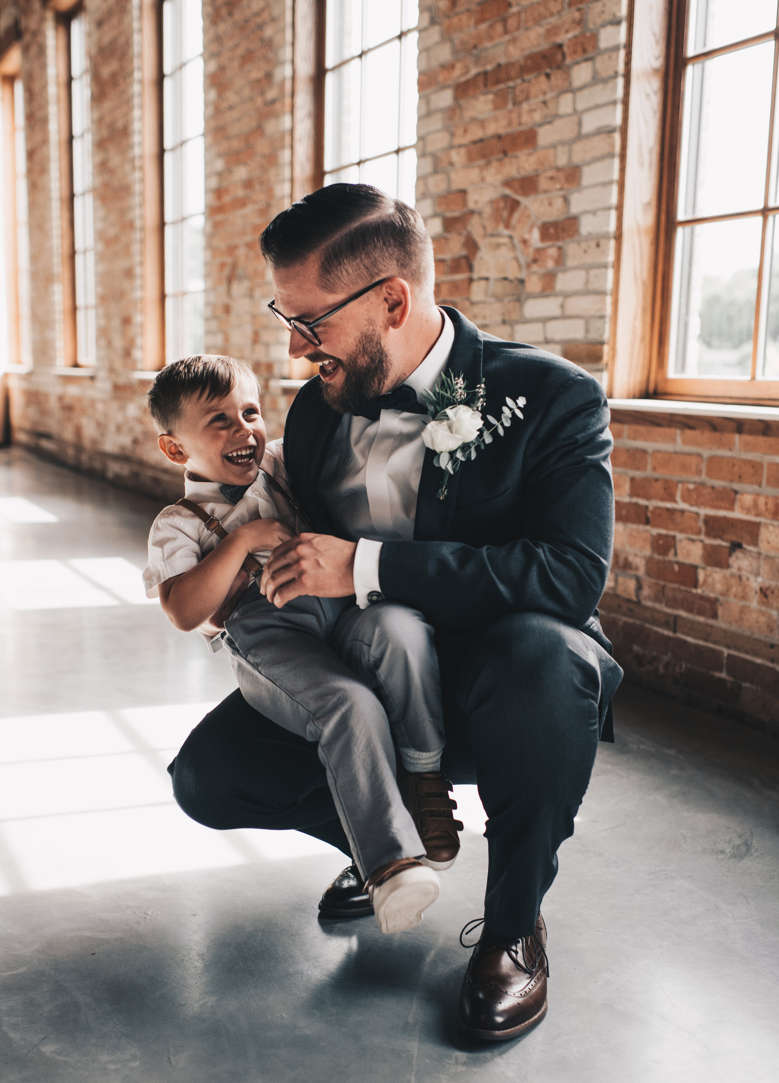 Modern Industrial Wedding, The Brix on the Fox, The BRIX, Groom Attire, Modern Midwest Wedding, Groom and Ring Bearer Photos