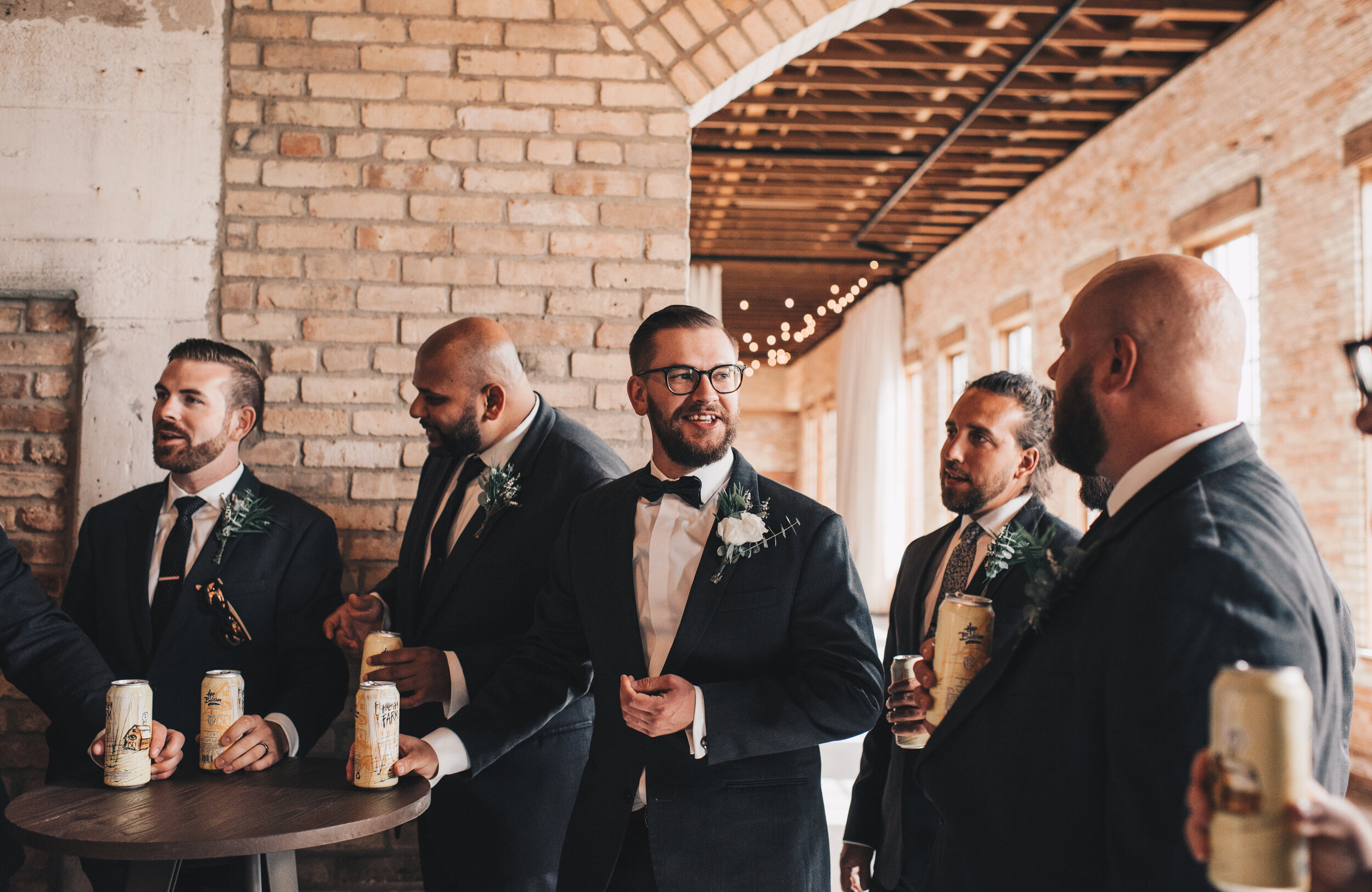 Modern Industrial Wedding, The Brix on the Fox, The BRIX, Groom Attire, Modern Midwest Wedding, Groom and Groomsmen Photos