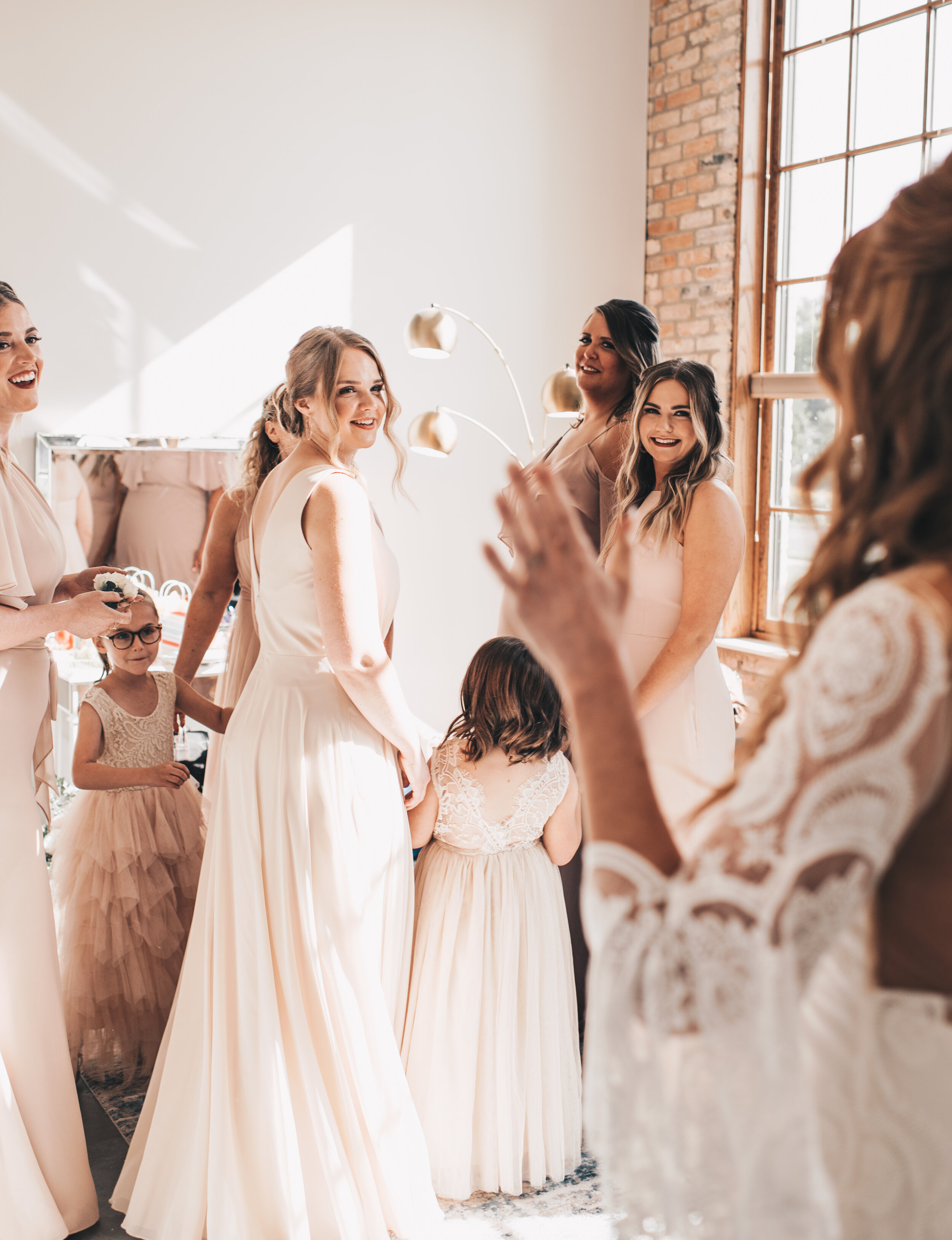 Modern Industrial Wedding, The Brix on the Fox, The BRIX, Wedding Detail Photos, Modern Midwest Wedding, The Brix on the Fox Wedding, The BRIX Wedding, Bridesmaids First Look Photos