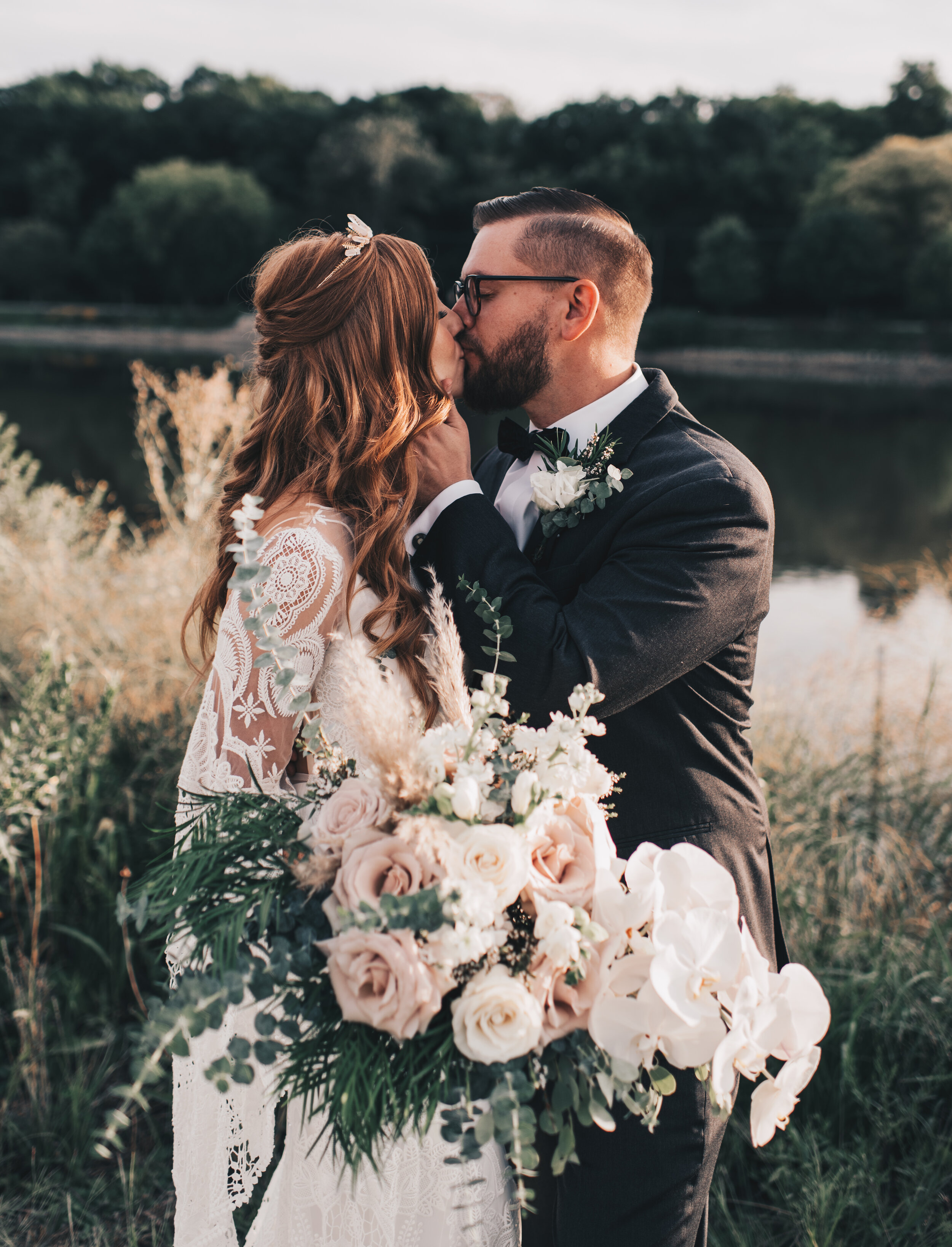Modern Industrial Wedding, The Brix on the Fox, The BRIX, Chicago Industrial Wedding, Modern Midwest Wedding, The Brix on the Fox Wedding, The BRIX Wedding, Outdoor Boho Bride and Groom Photos