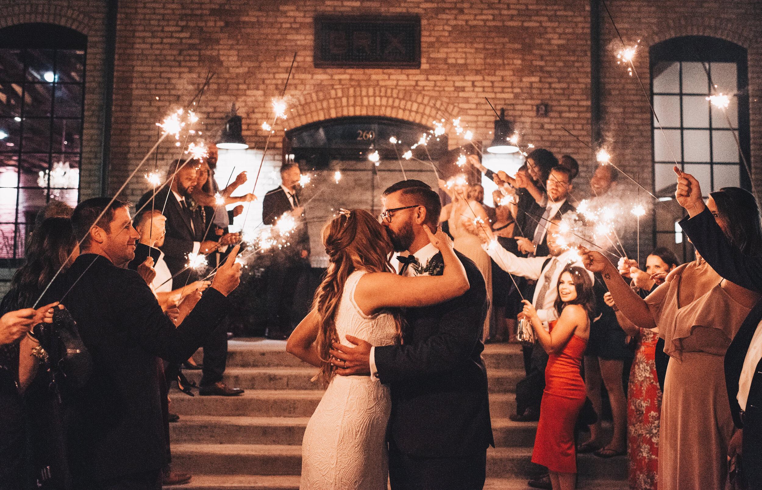 Modern Industrial Wedding, The Brix on the Fox, The BRIX, Chicago Industrial Wedding, Modern Midwest Wedding, The Brix on the Fox Wedding, The BRIX Wedding, Wedding Sparkler Exit Photos