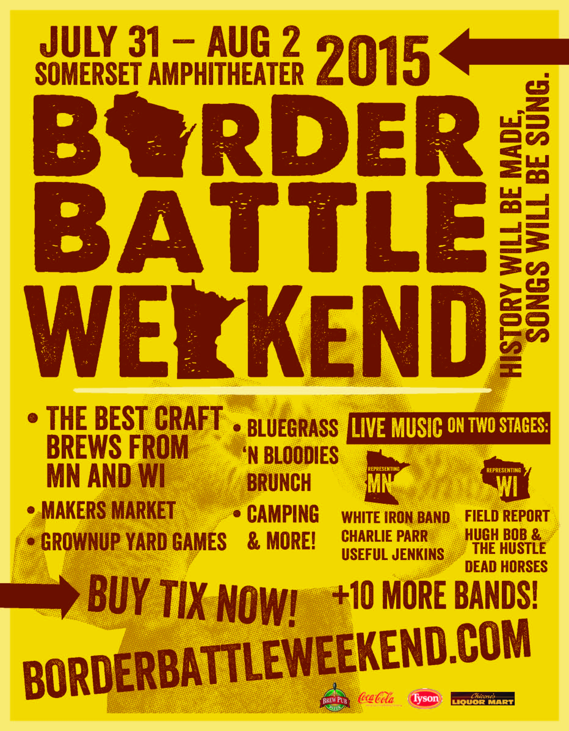 Somerset WI - In a light-hearted spirit of competition, I worked with the Somerset Amphitheater to create a Border Battle Weekend on its newly improved festival grounds. The event included a very popular Border Battle Beer Fest,two stages of live music, a Makers Market, grownup yard games, fine Midwestern food and a lot of fun with the MN vs. WI theme.