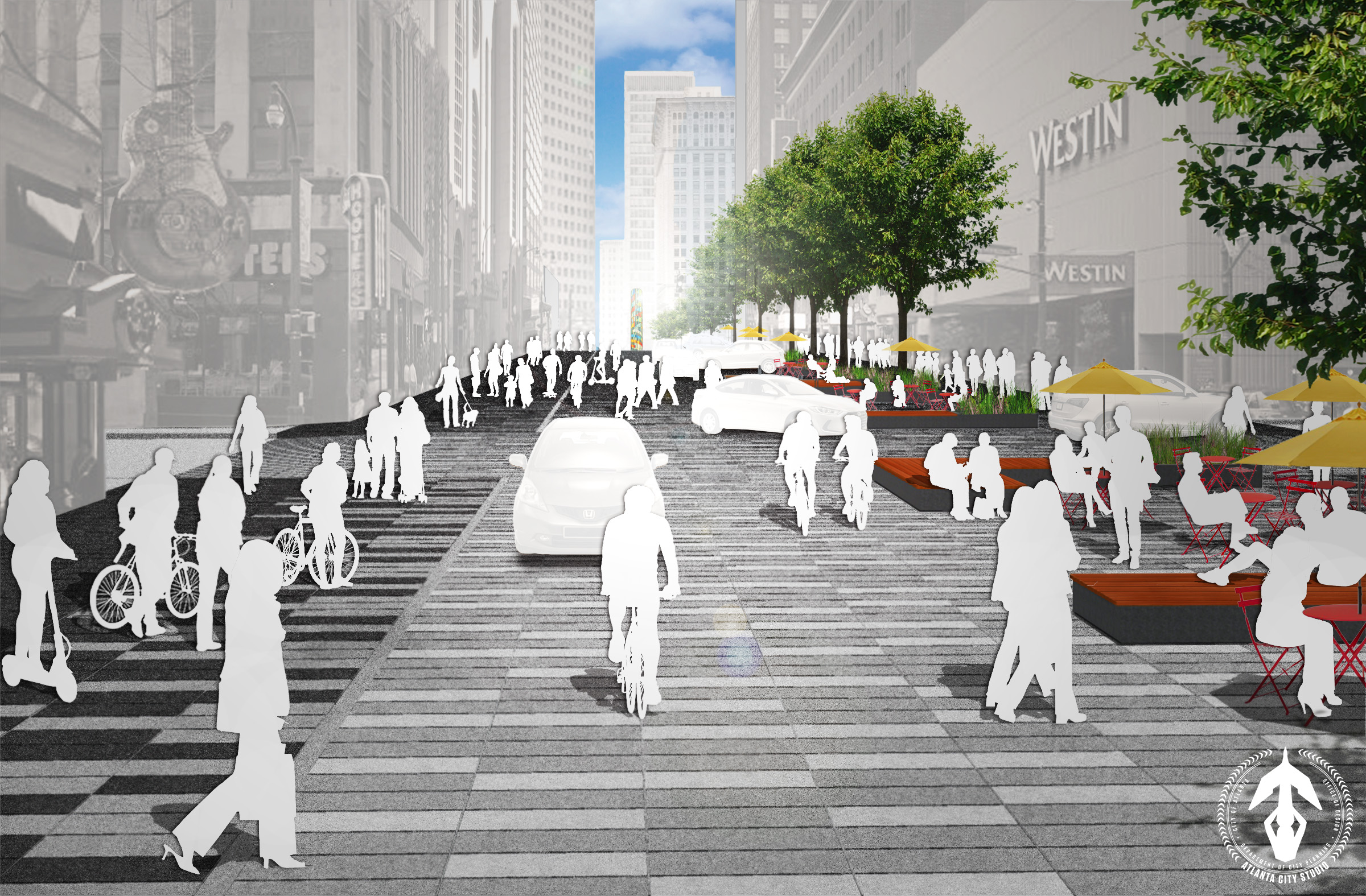 Proposed design looking towards Margaret Mitchell Square